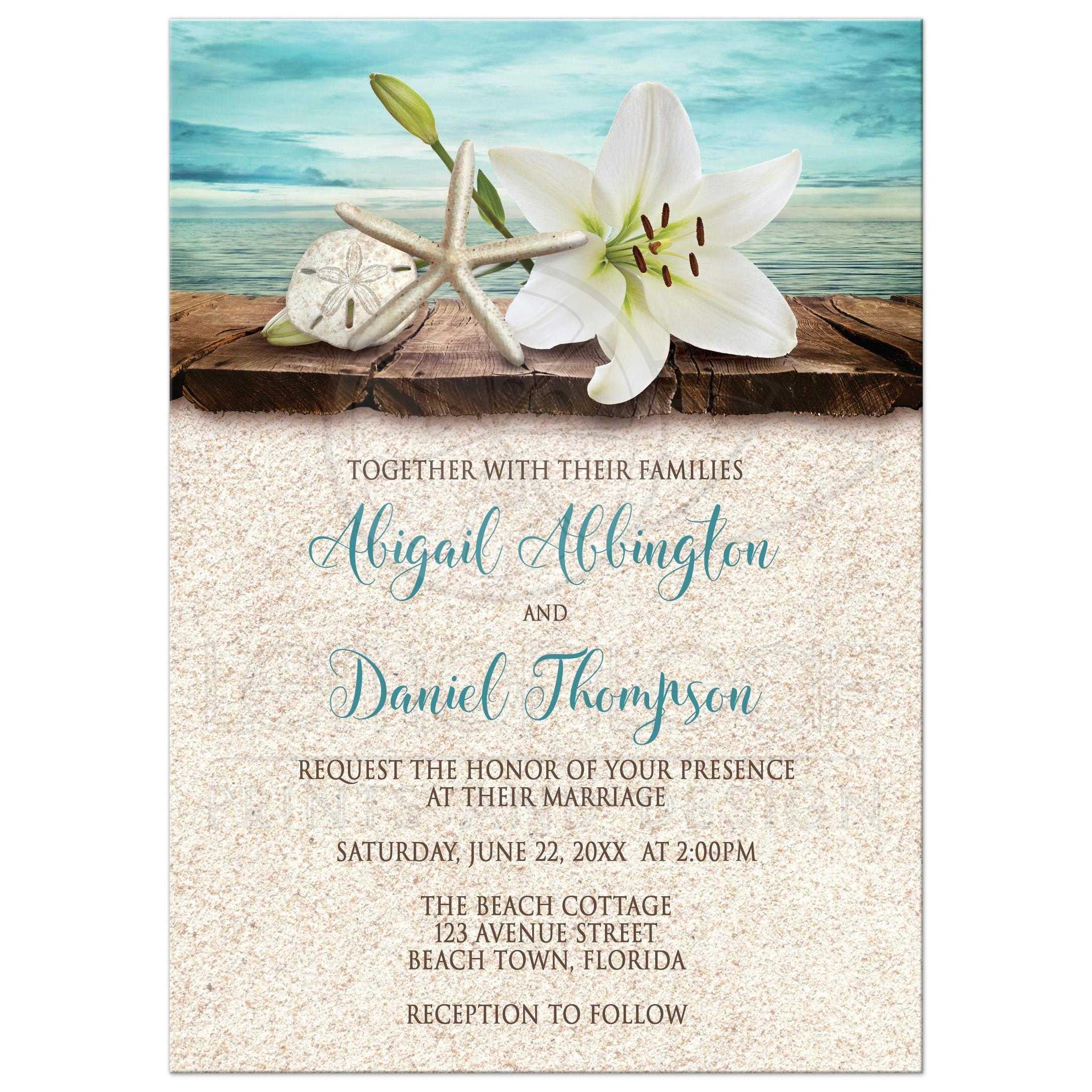 Wedding Invitations   Beach Lily Seashells And Sand