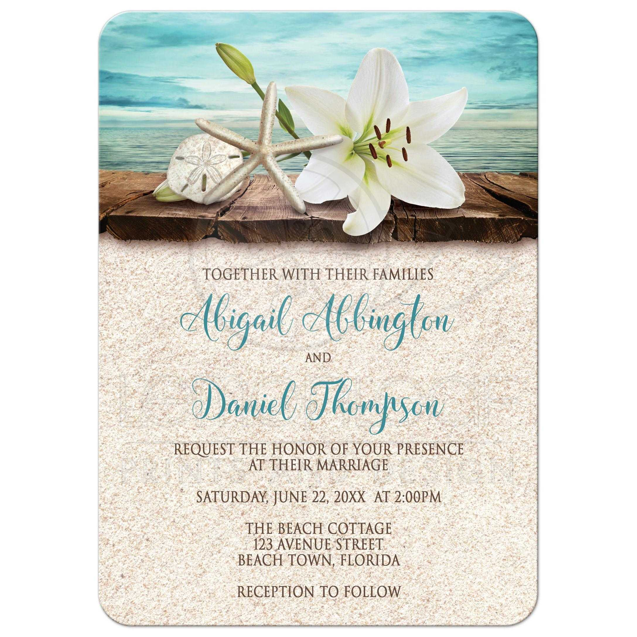Invitations Beach Lily Seashells and Sand – Beach Wedding Invitations