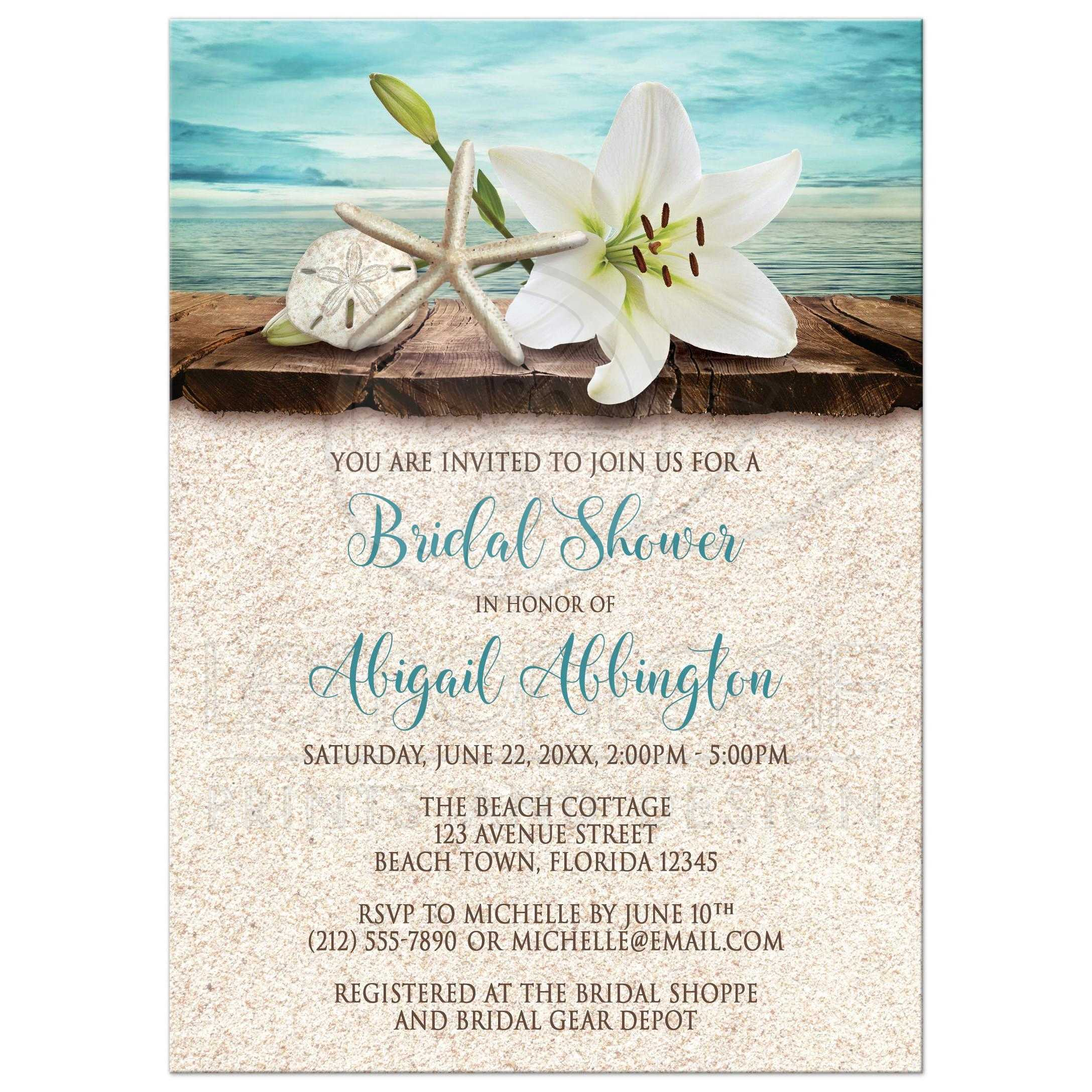 Bridal shower invitations beach lily seashells and sand filmwisefo