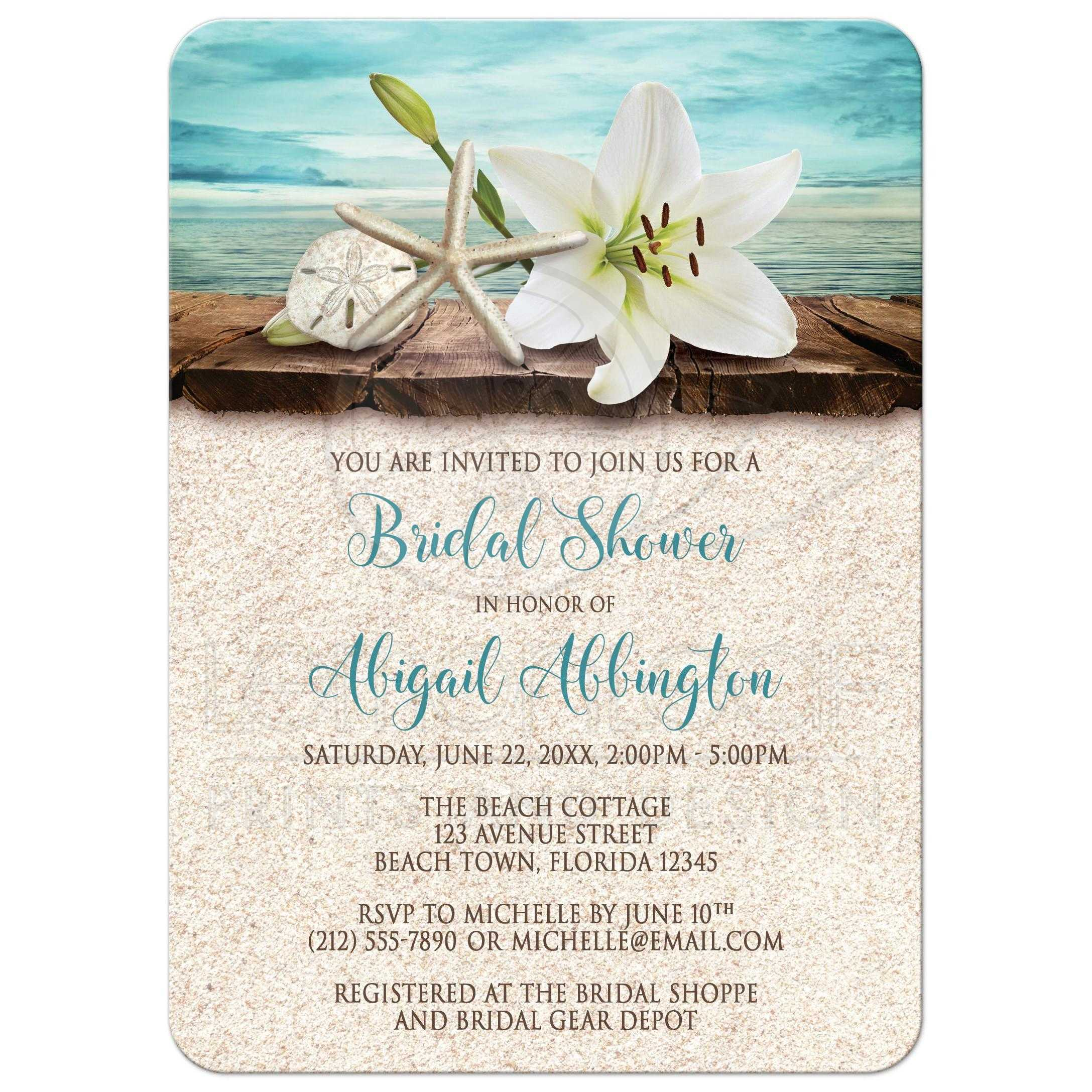 bridal shower invitations beach lily seashells and sand