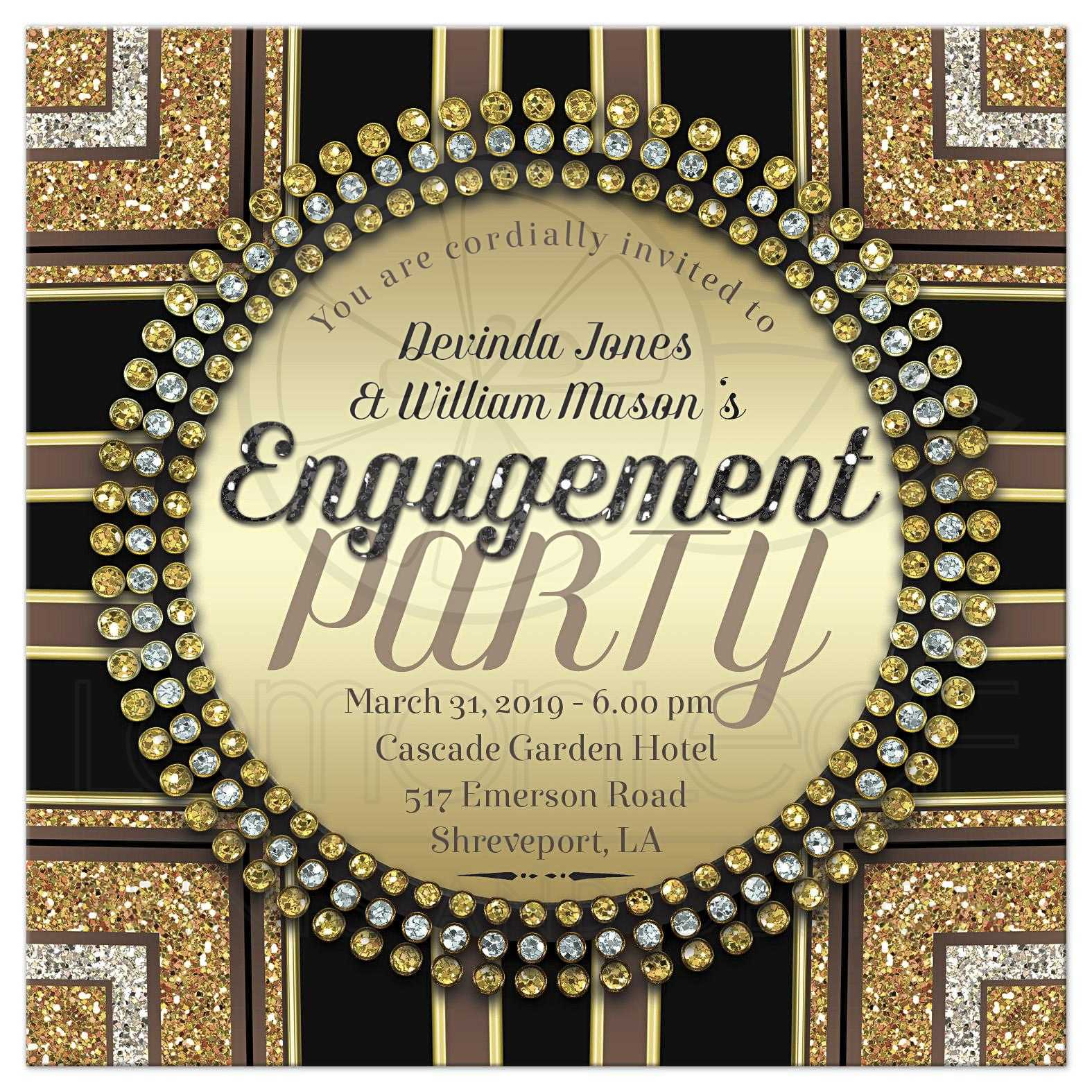 Gold Black Art Deco Glam Engagement Party Invitation