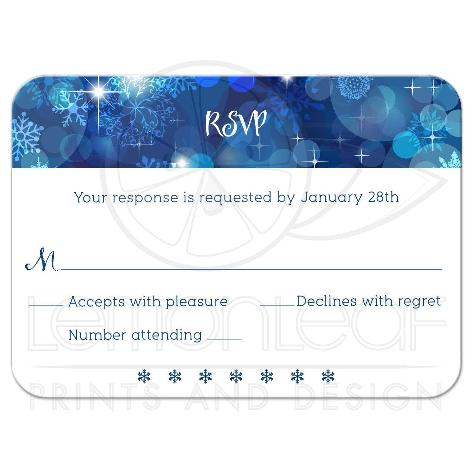 Bokeh Flowers Wedding: Snowflake Blue Bokeh Winter Wedding Reply RSVP Card