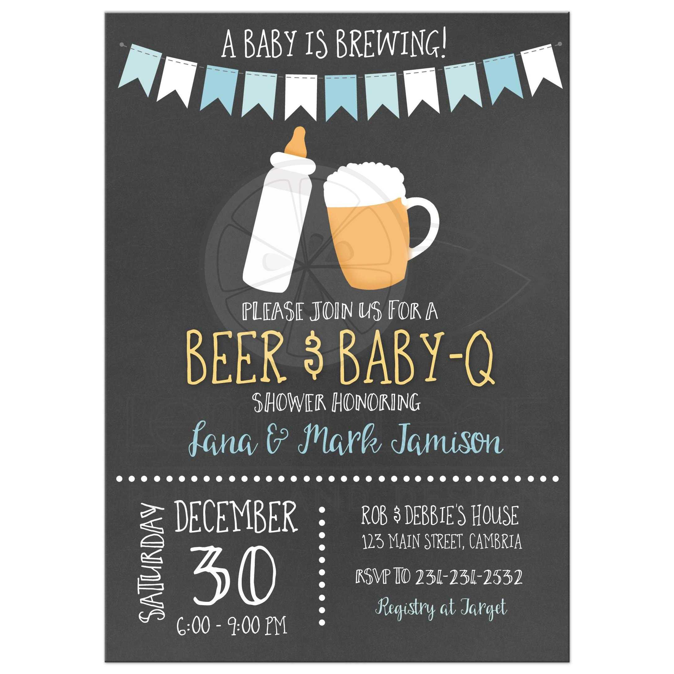 Baby is Brewing BBQ BabyQ CoEd Chalkboard Baby Shower Invitations