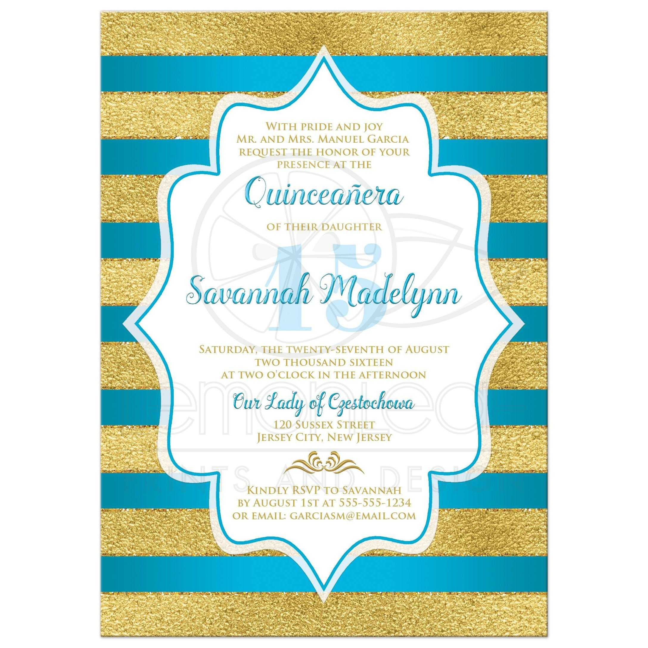Quinceañera Invitation | Turquoise, Faux Gold Foil Stripes