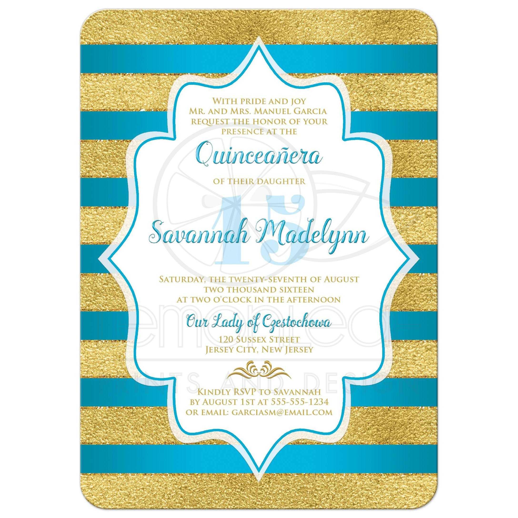 Quinceañera Invitation   Turquoise, Faux Gold Foil Stripes