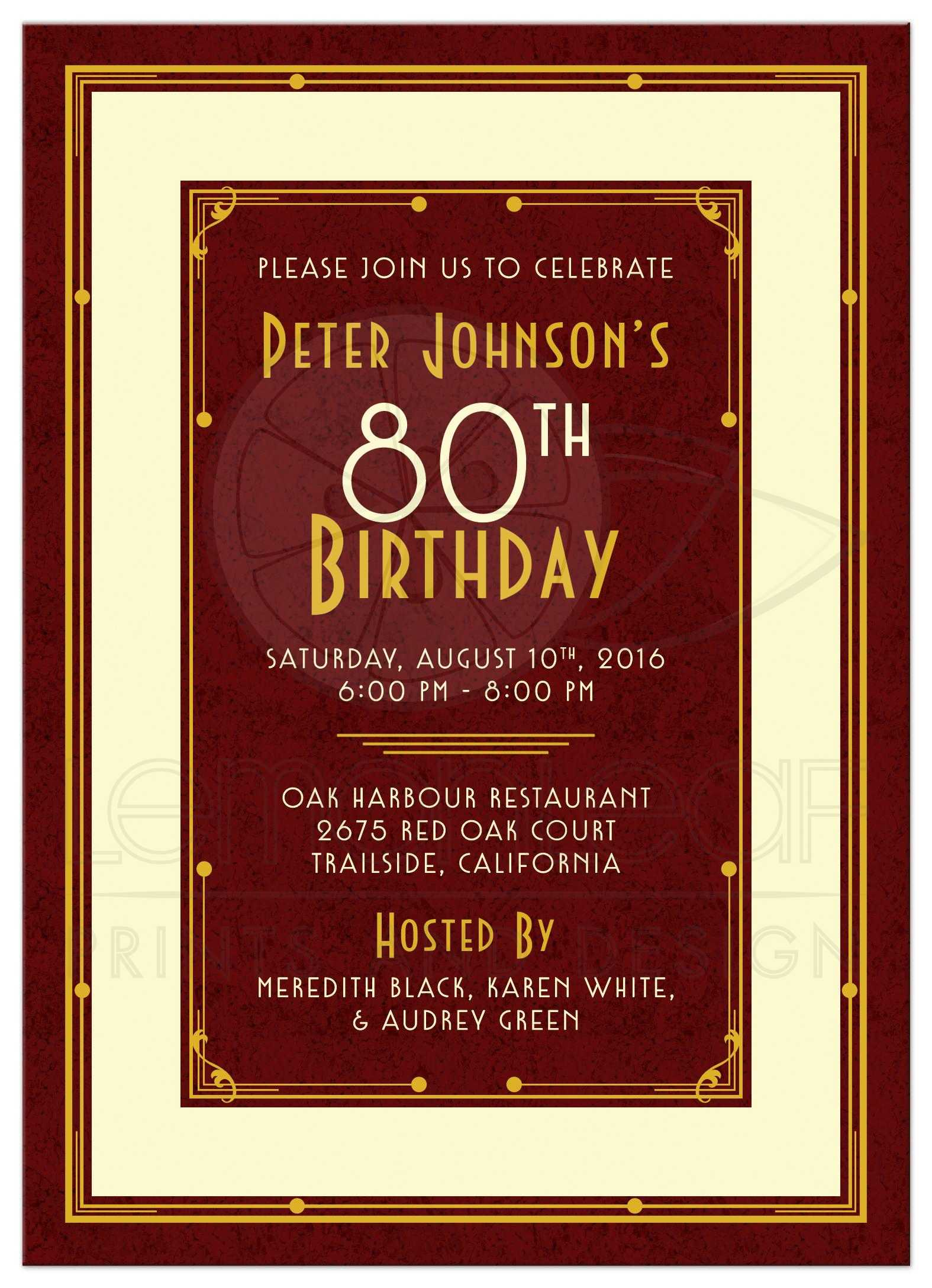 Elegant Maroon Gold And Ivory Art Deco Mans 80th Birthday Invitation Front
