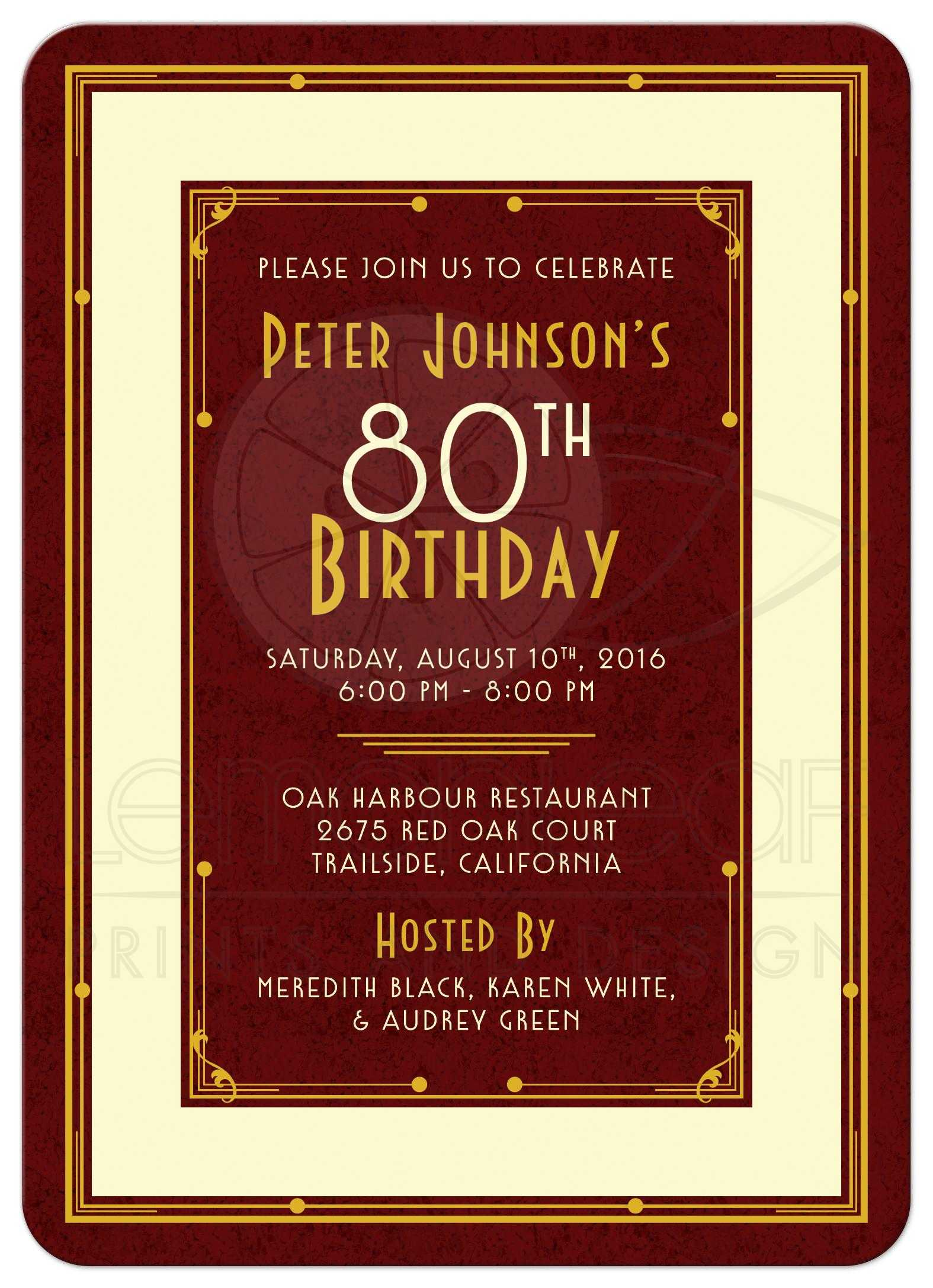 Gold And Ivory Art Deco Mans 80th Birthday Invitation Front