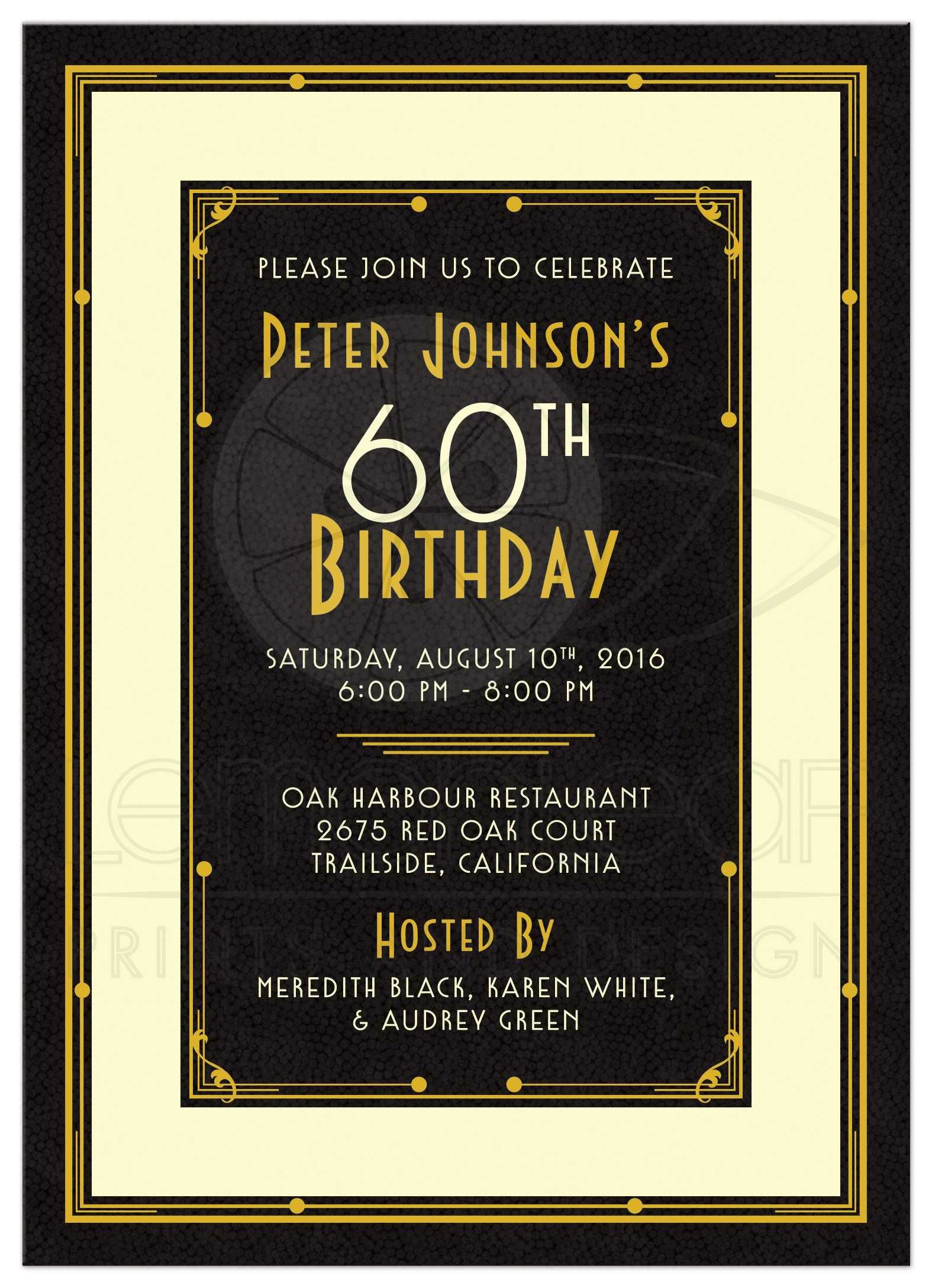 Elegant black, gold, and ivory art deco man's 60th birthday invitation ...
