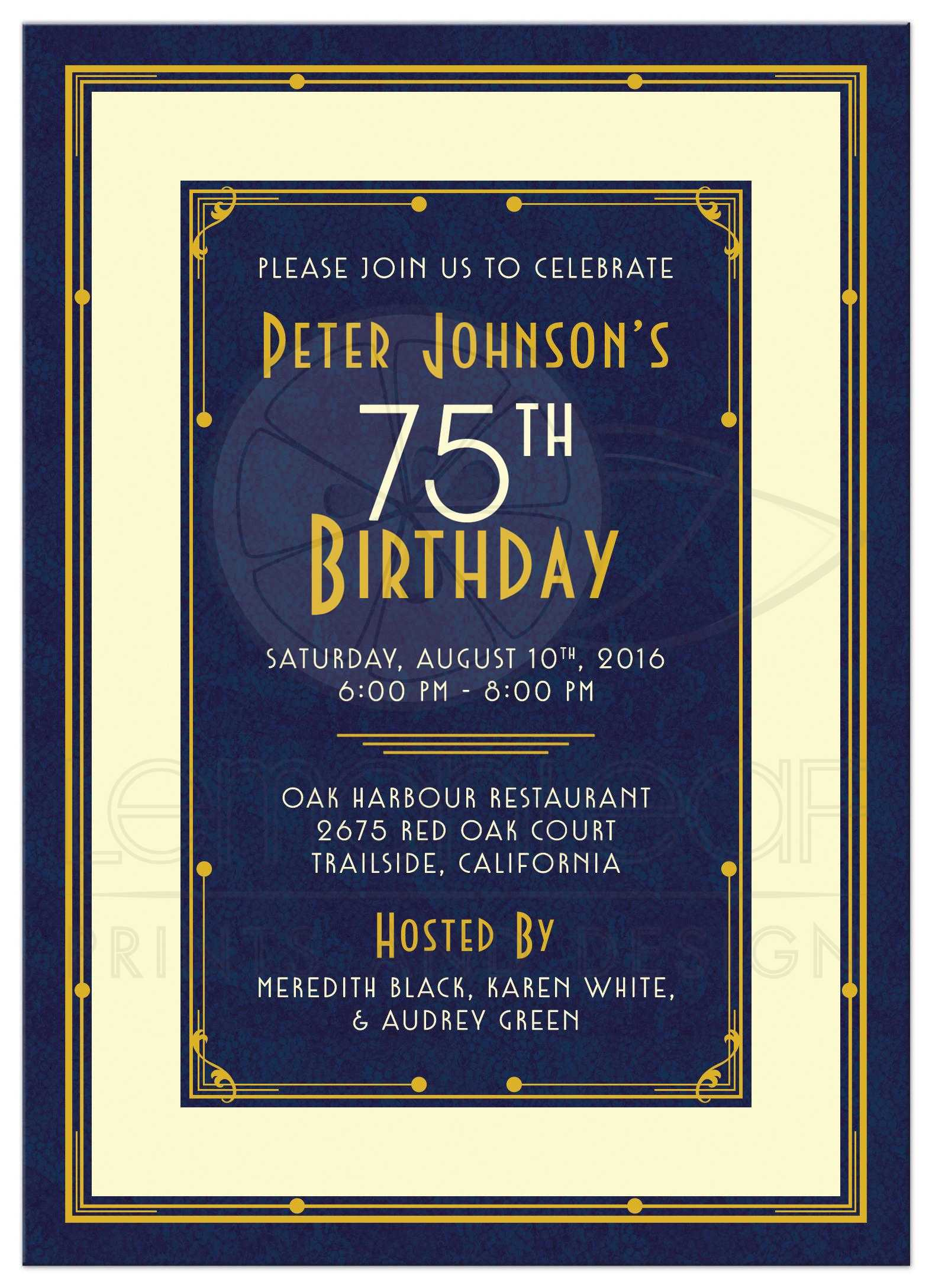 ... Birthday / Man's 75th Birthday Invitation | Art Deco Navy Blue and