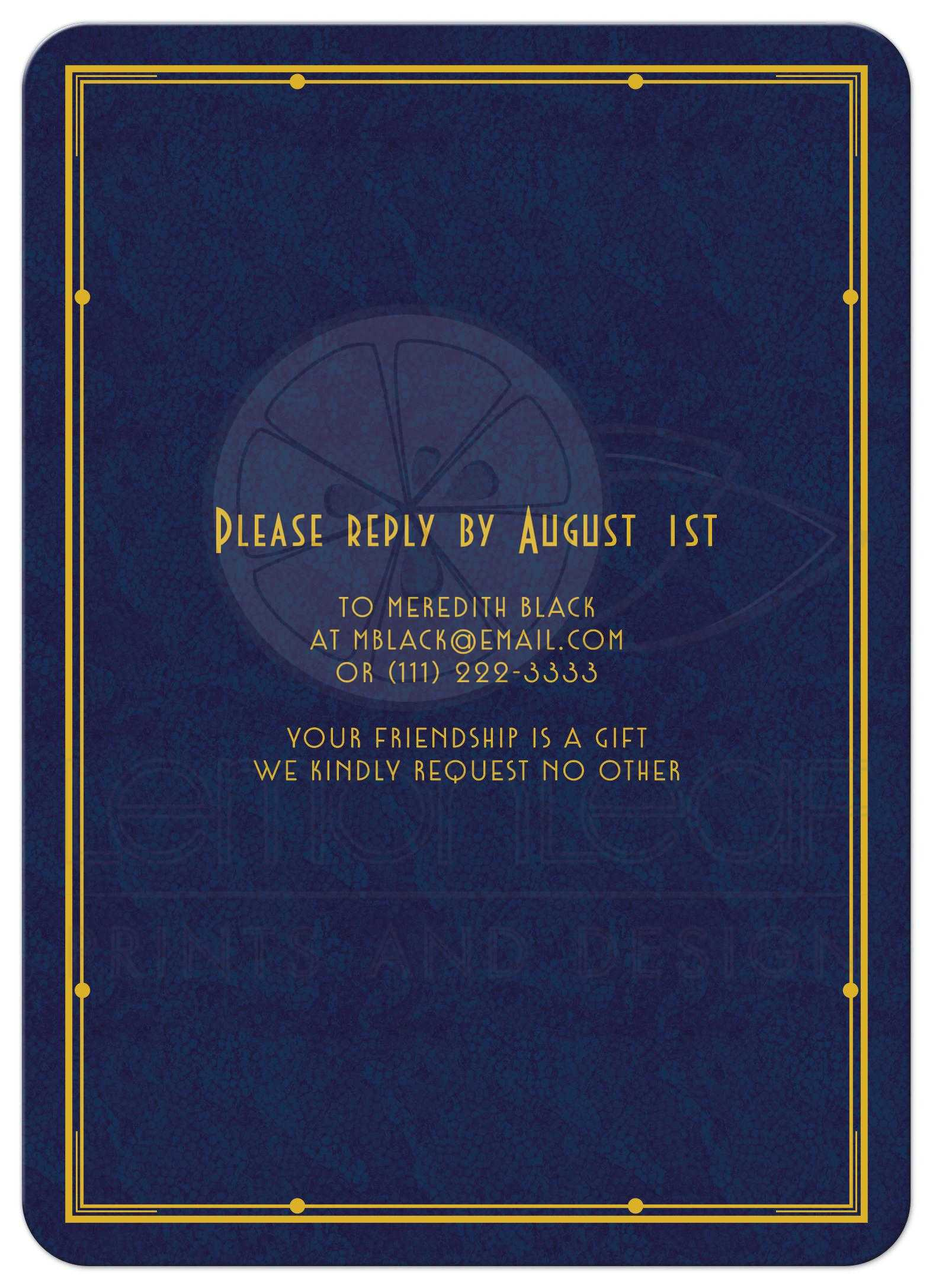 Mans 75th Birthday Invitation Art Deco Navy Blue and Gold