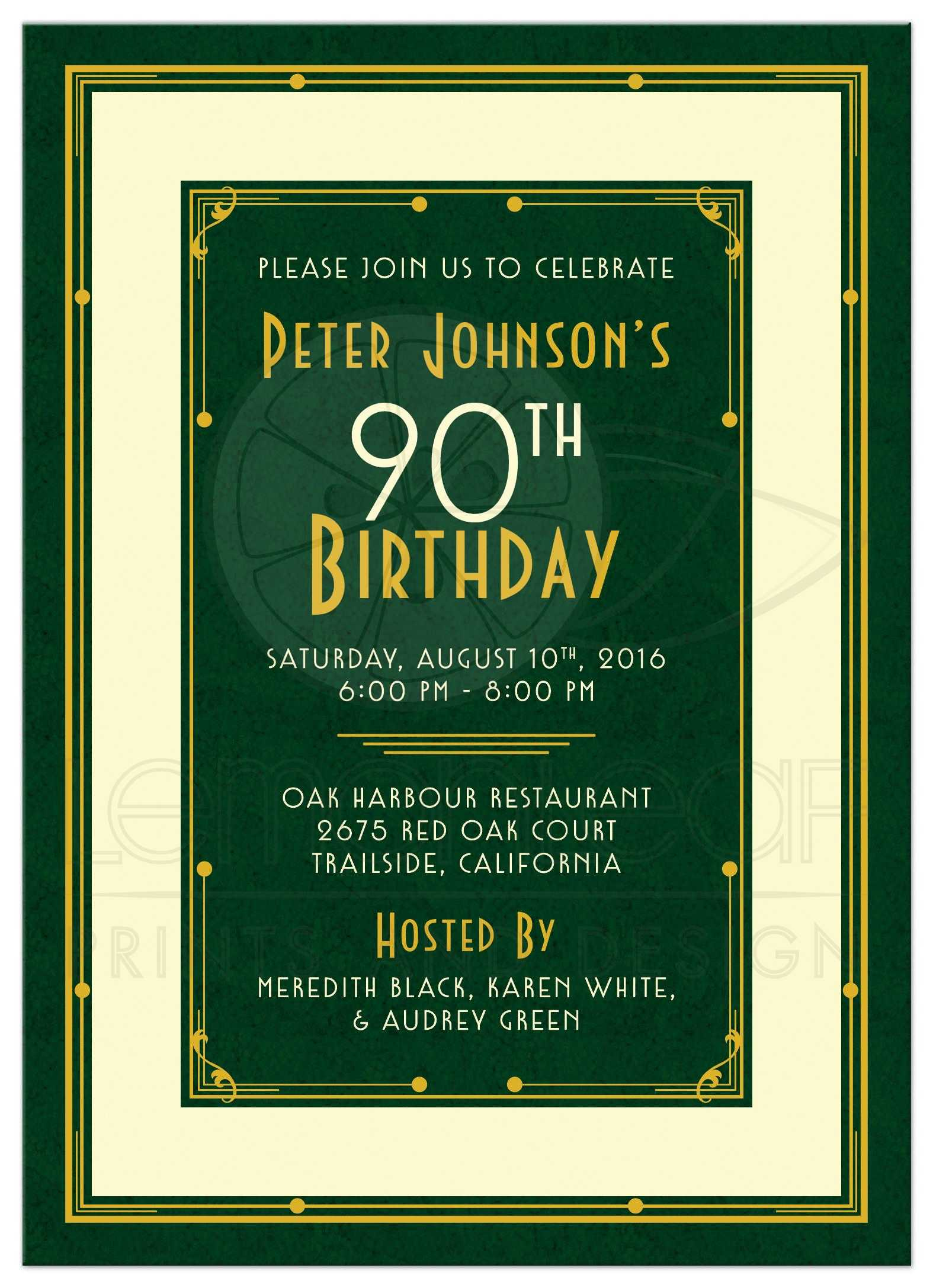 Elegant Forest Green Gold And Ivory Art Deco Mans 90th Birthday Invitation