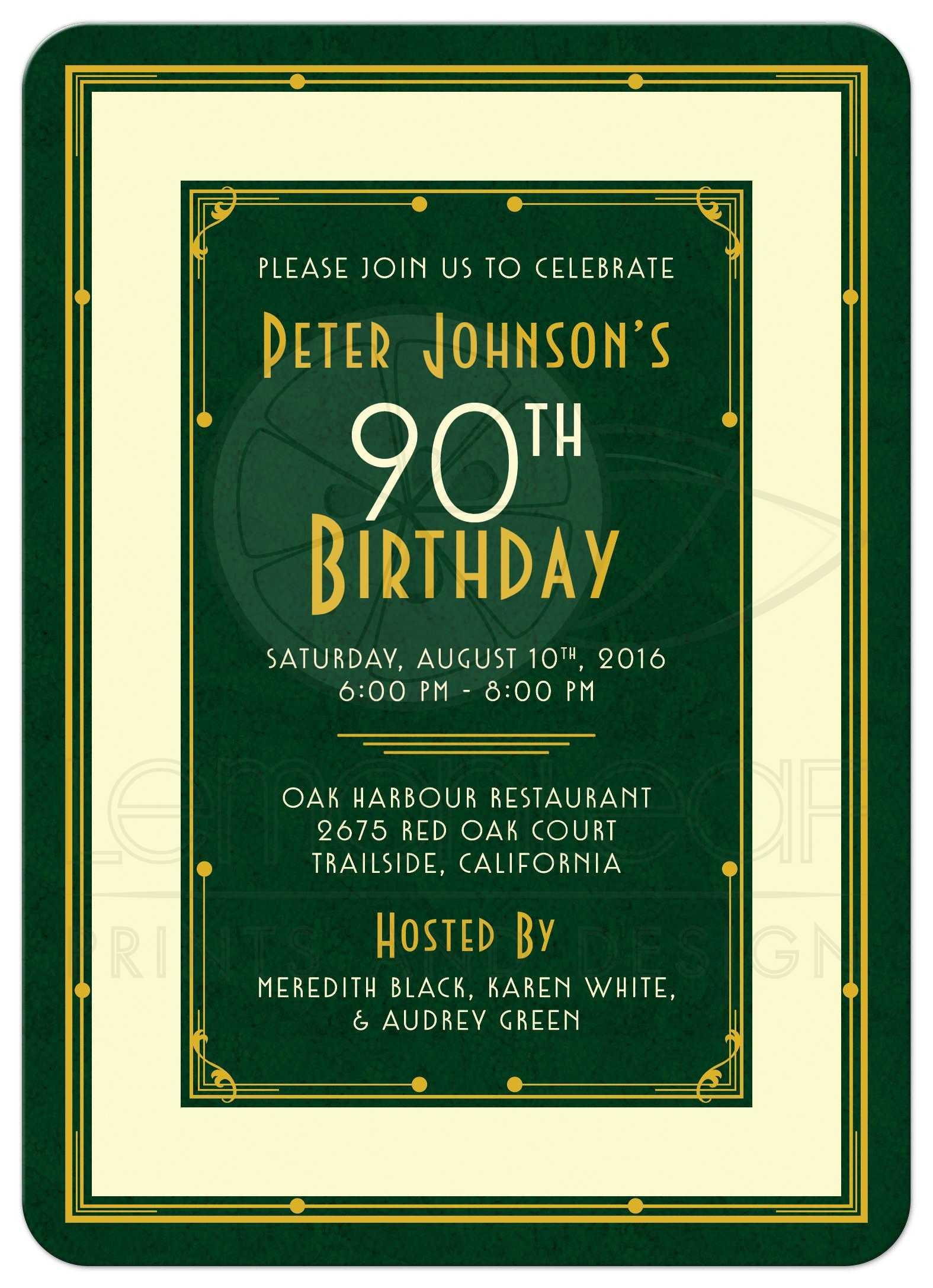 man s 90th birthday invitation art deco forest green gold
