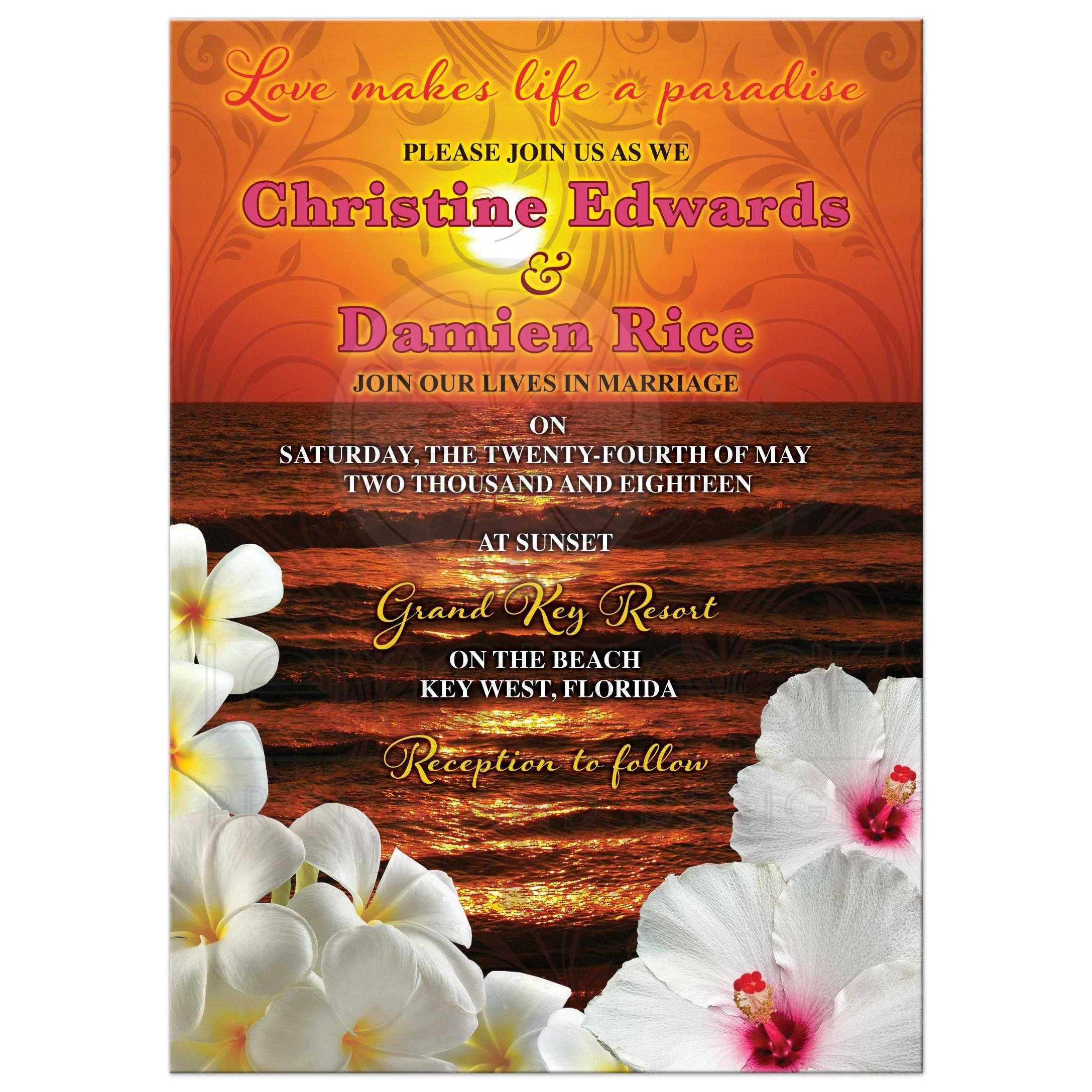 Hibiscus And Frangipani Beautiful Sunset Beach Tropical Destination Wedding Invitation Front: Beach Wedding Invitations For Wedding At Reisefeber.org