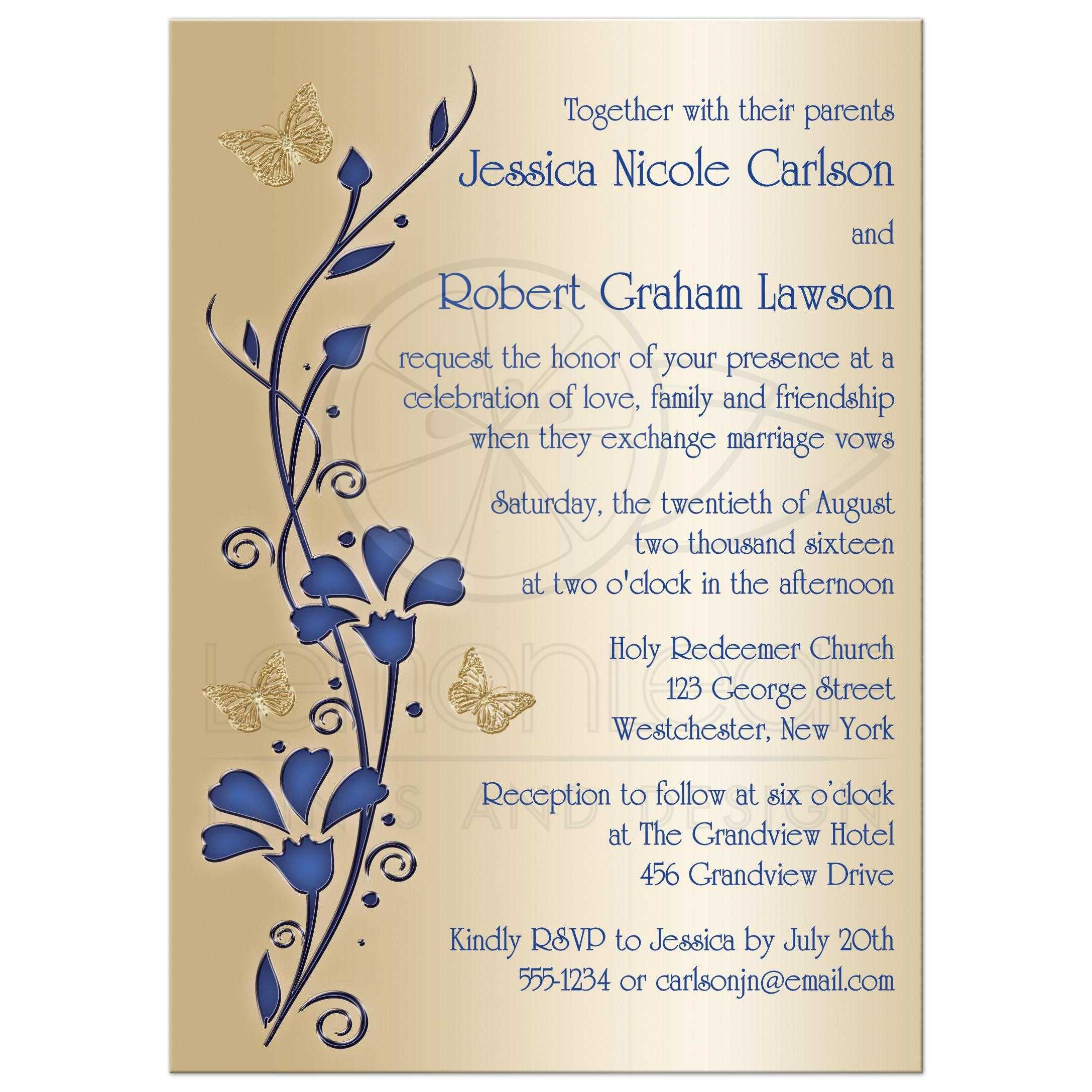 Wedding Invitation | Royal Blue and Gold | Flowers, Butterflies