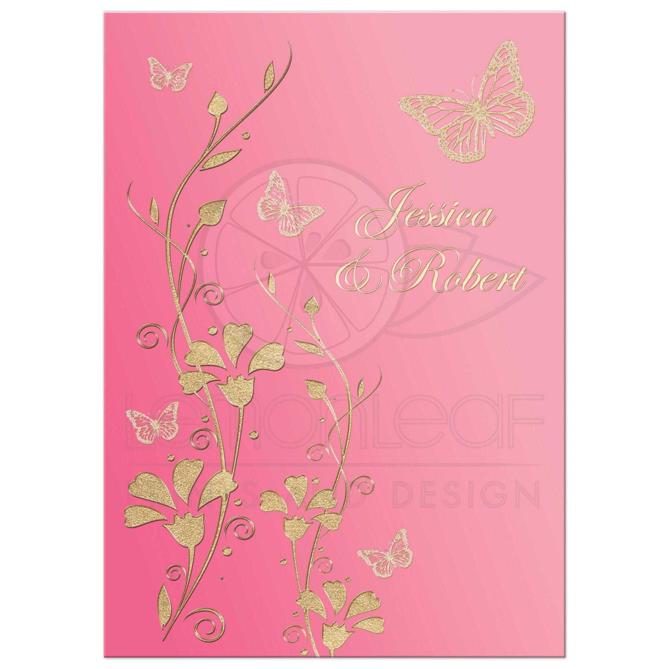 Wedding invitation blush pink rose pink champagne and faux gold great fuchsia blush pink champagne and gold floral wedding invitation with flowers and butterflies mightylinksfo