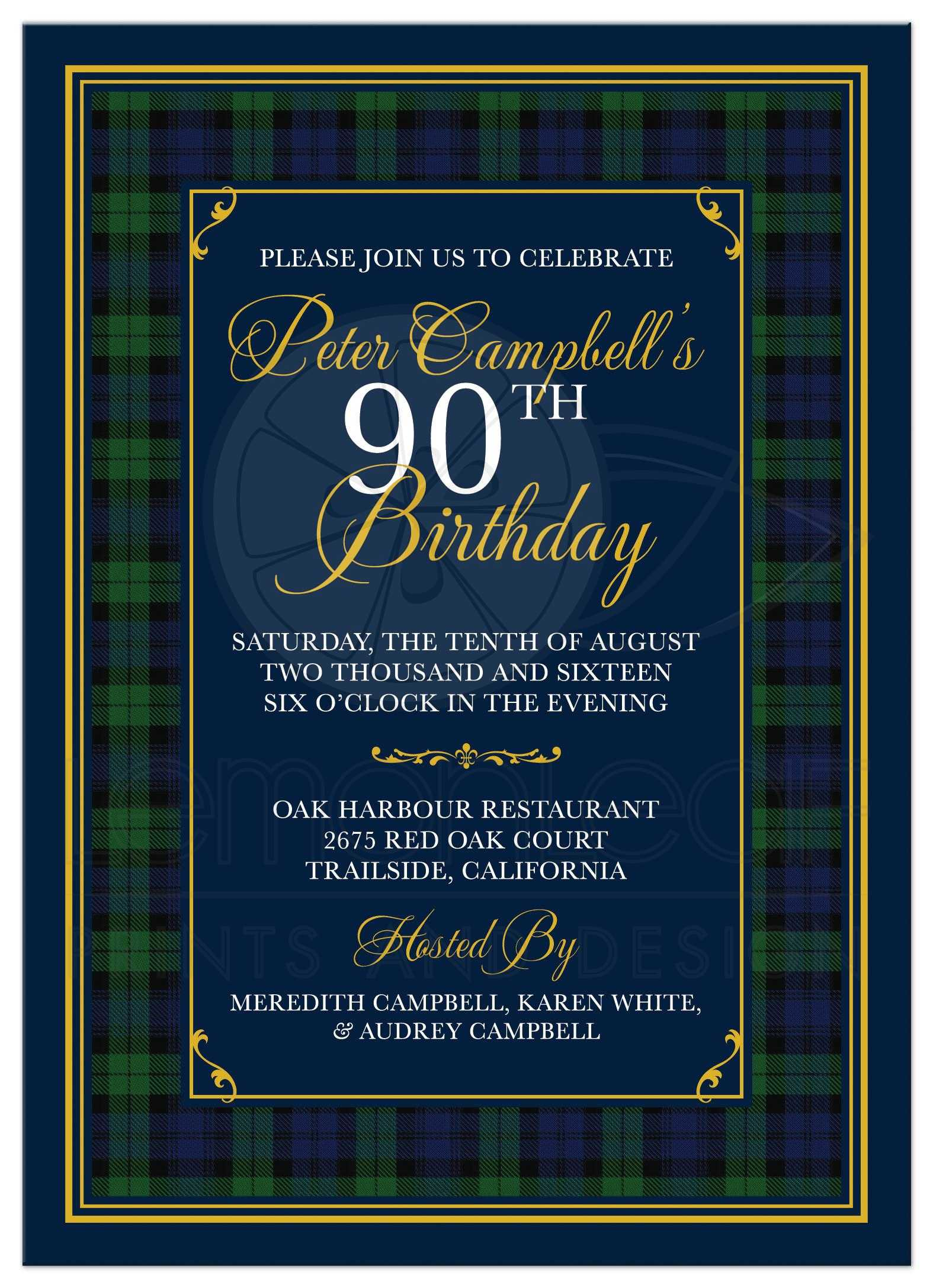 Scottish Black Watch Tartan Or Campbell Clan 90th Birthday Invitation Front