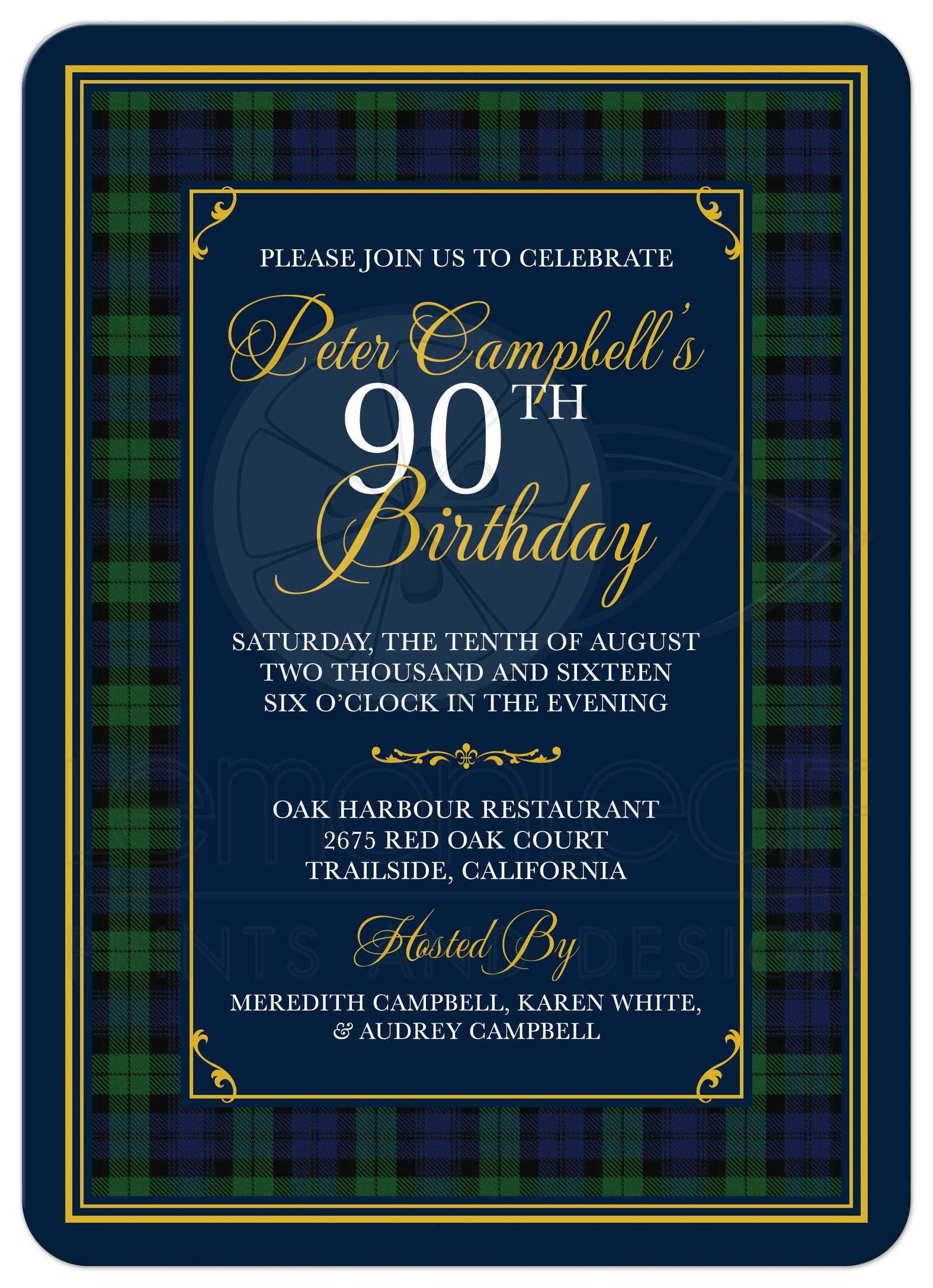 Black watch or campbell tartan 90th birthday invitation scottish scottish black watch tartan or campbell clan tartan 90th birthday invitation front filmwisefo Choice Image