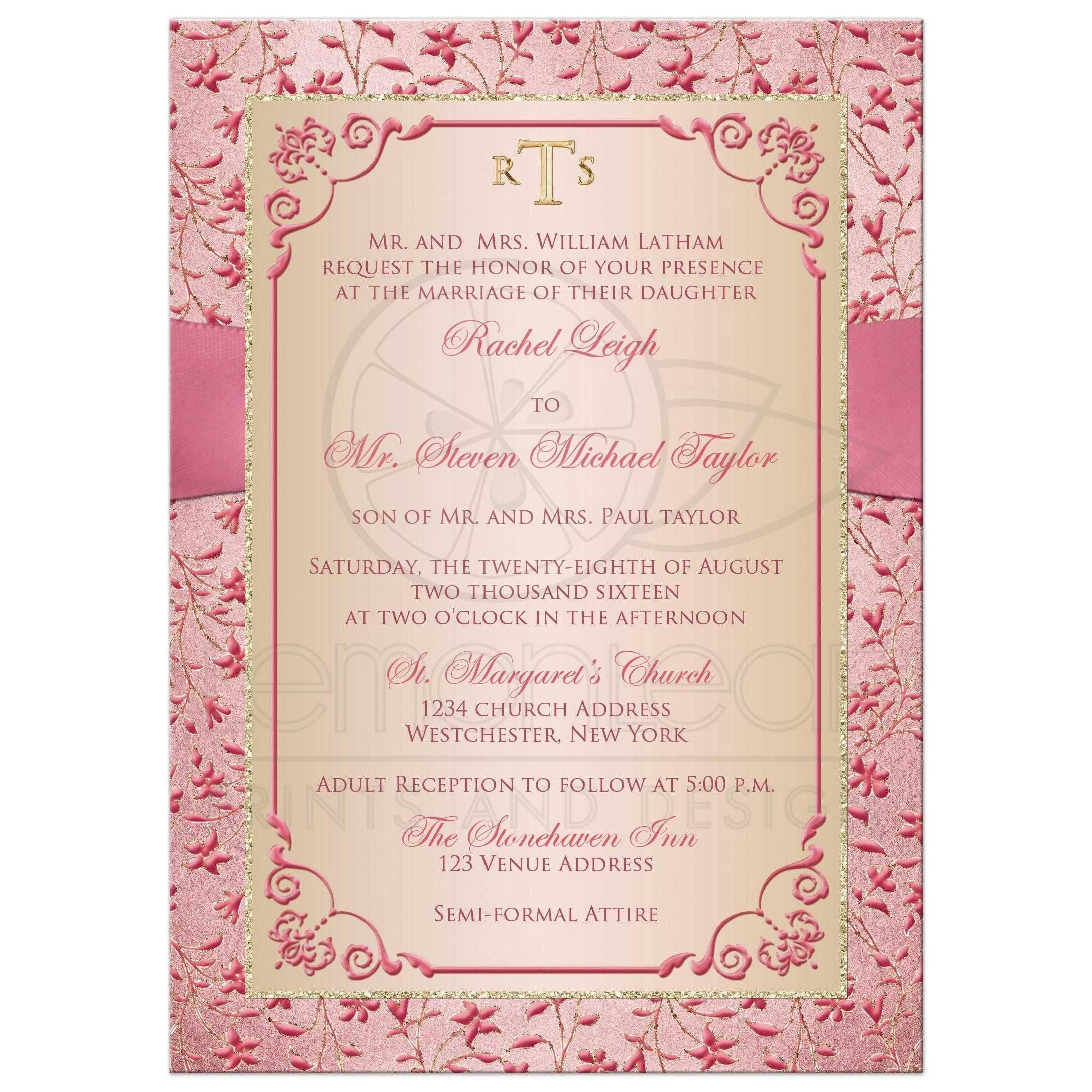 dusty rose gold floral wedding invitation with joined jewel and glitter