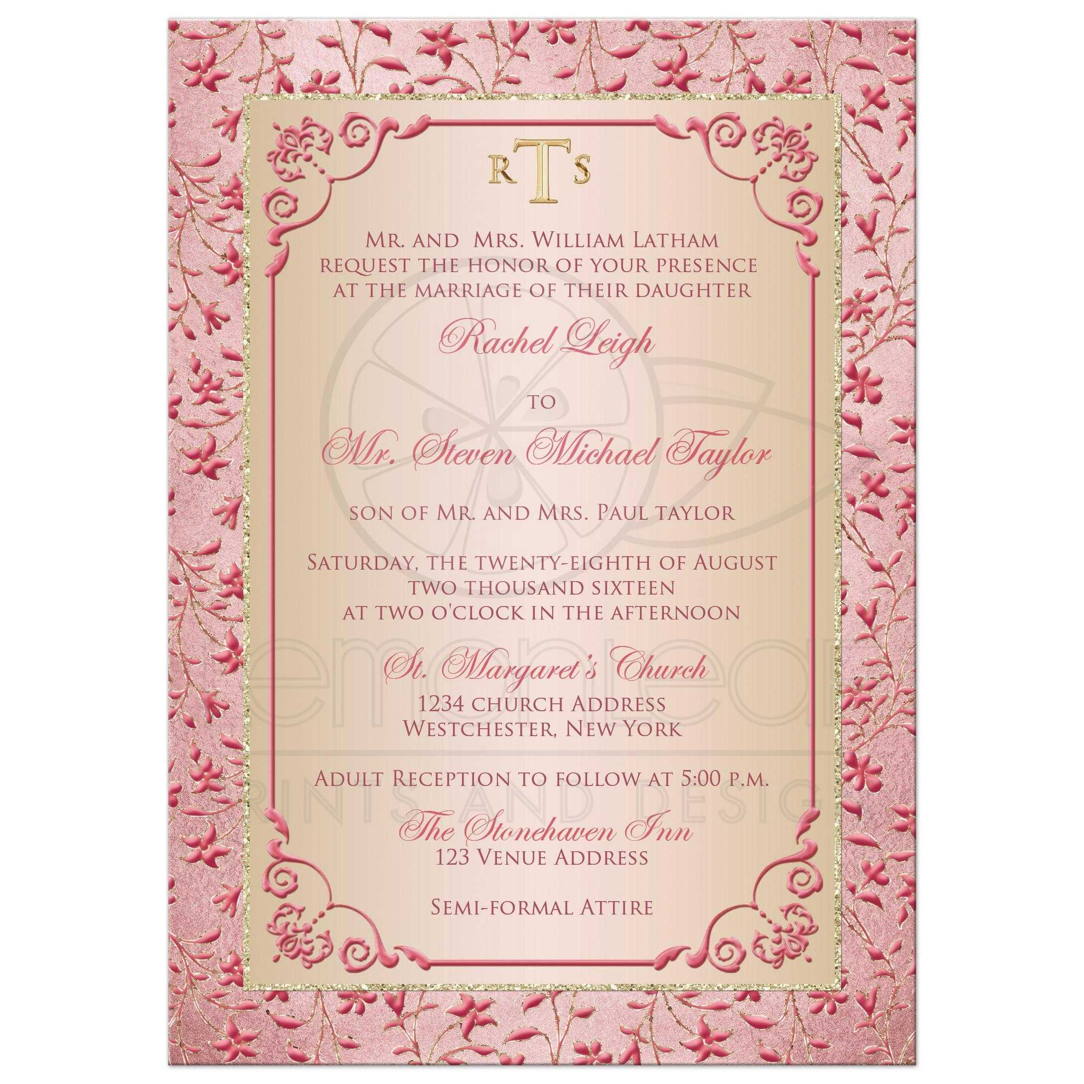 Monogrammed Wedding Invitation Blush Pink Dusty Rose Champagne