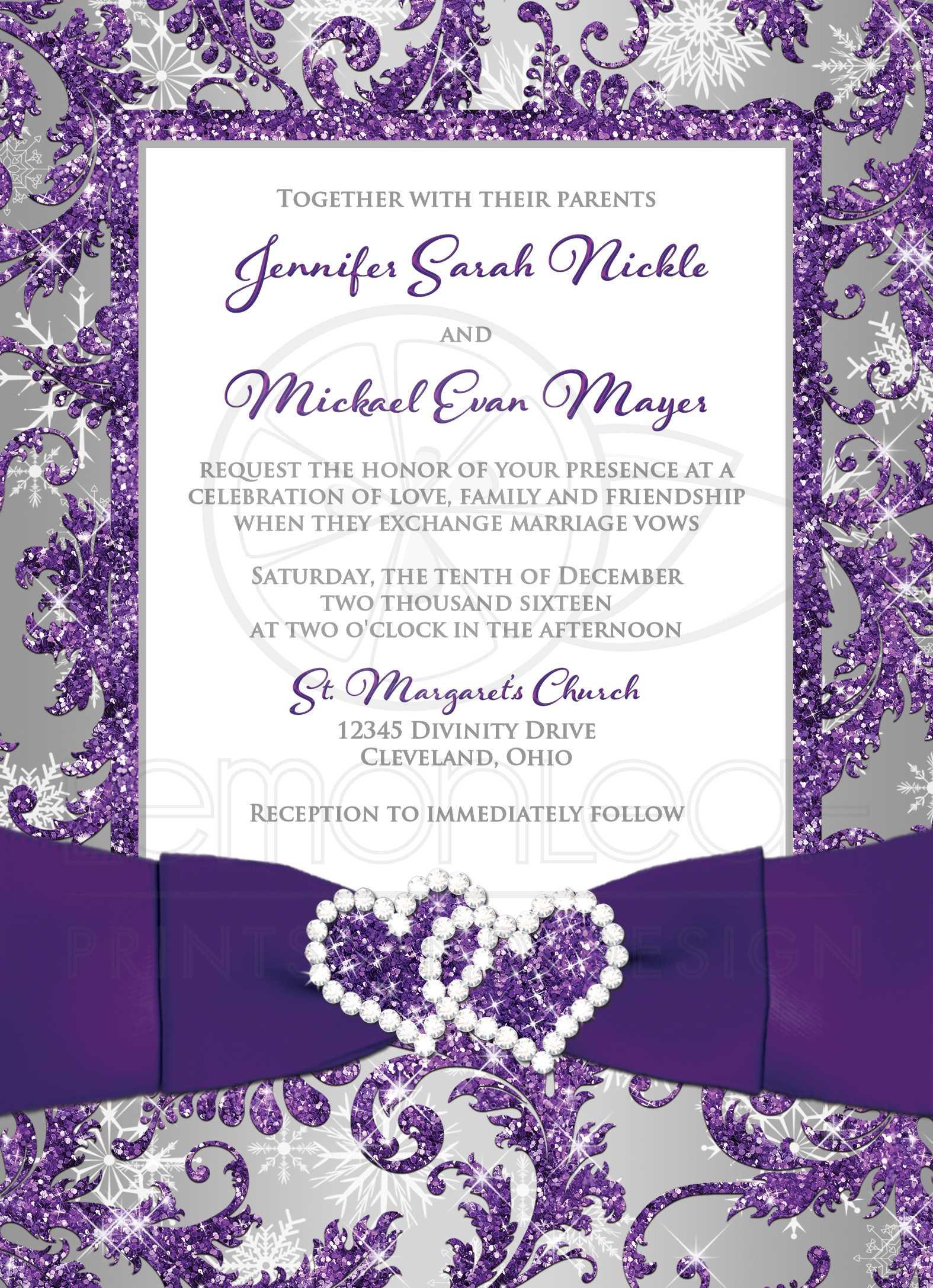 Winter Wonderland PHOTO Wedding Invitation | Purple, Silver, White  Snowflakes | Printed Jewel, Faux Glitter Joined Hearts