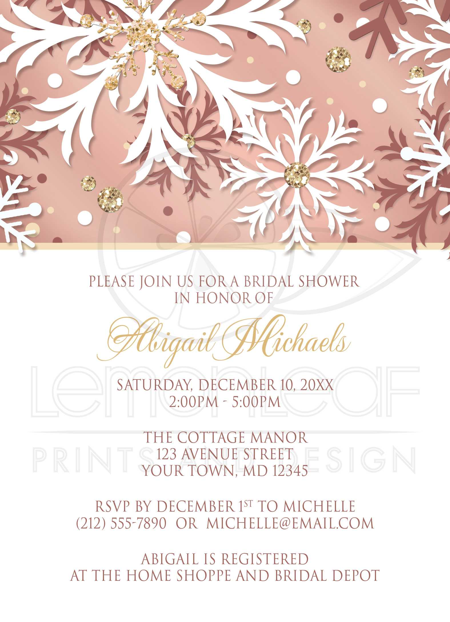 Bridal Shower Invitations Rose Gold Winter Snowflake