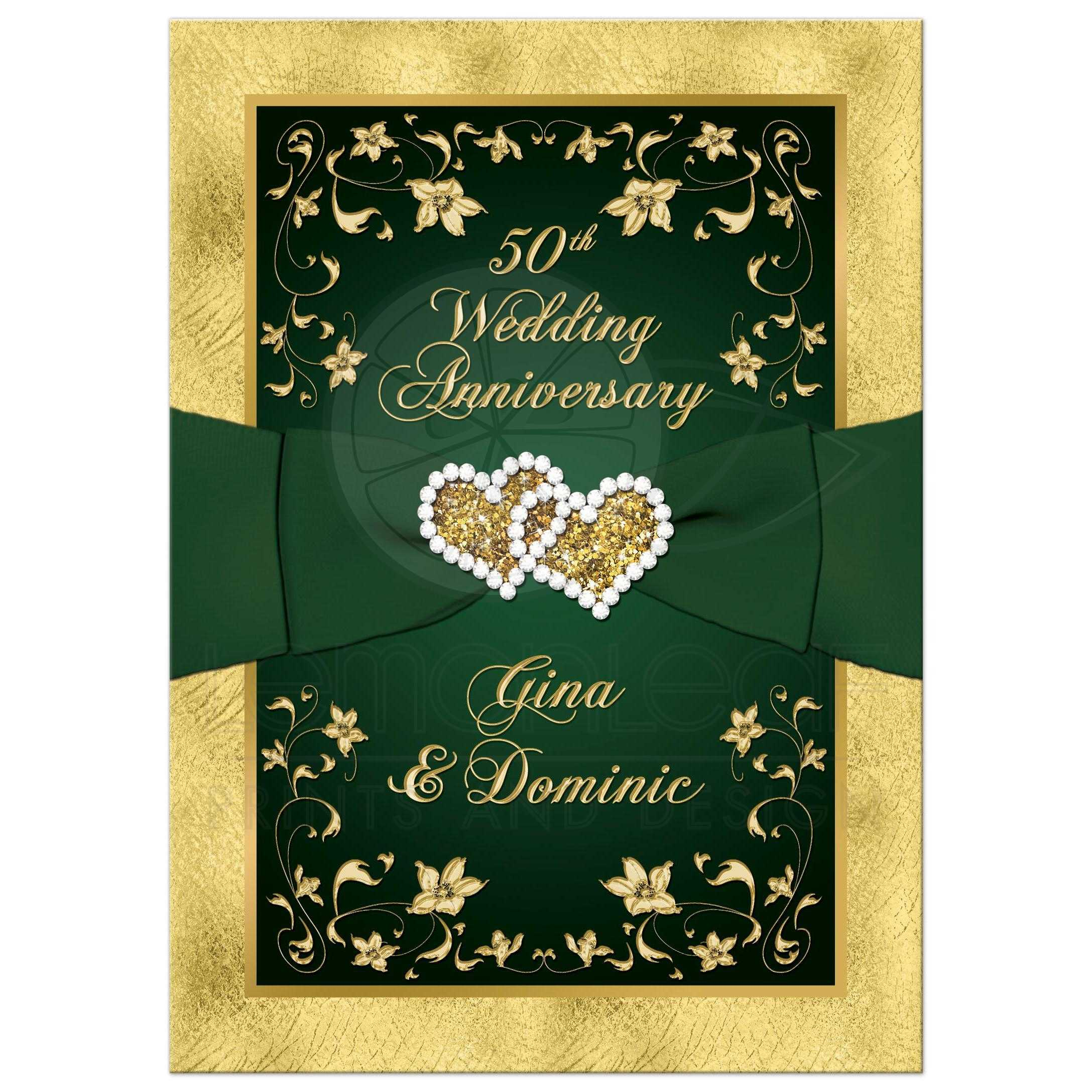 50th Wedding Anniversary Invitation | Green, Gold Floral | PRINTED ...