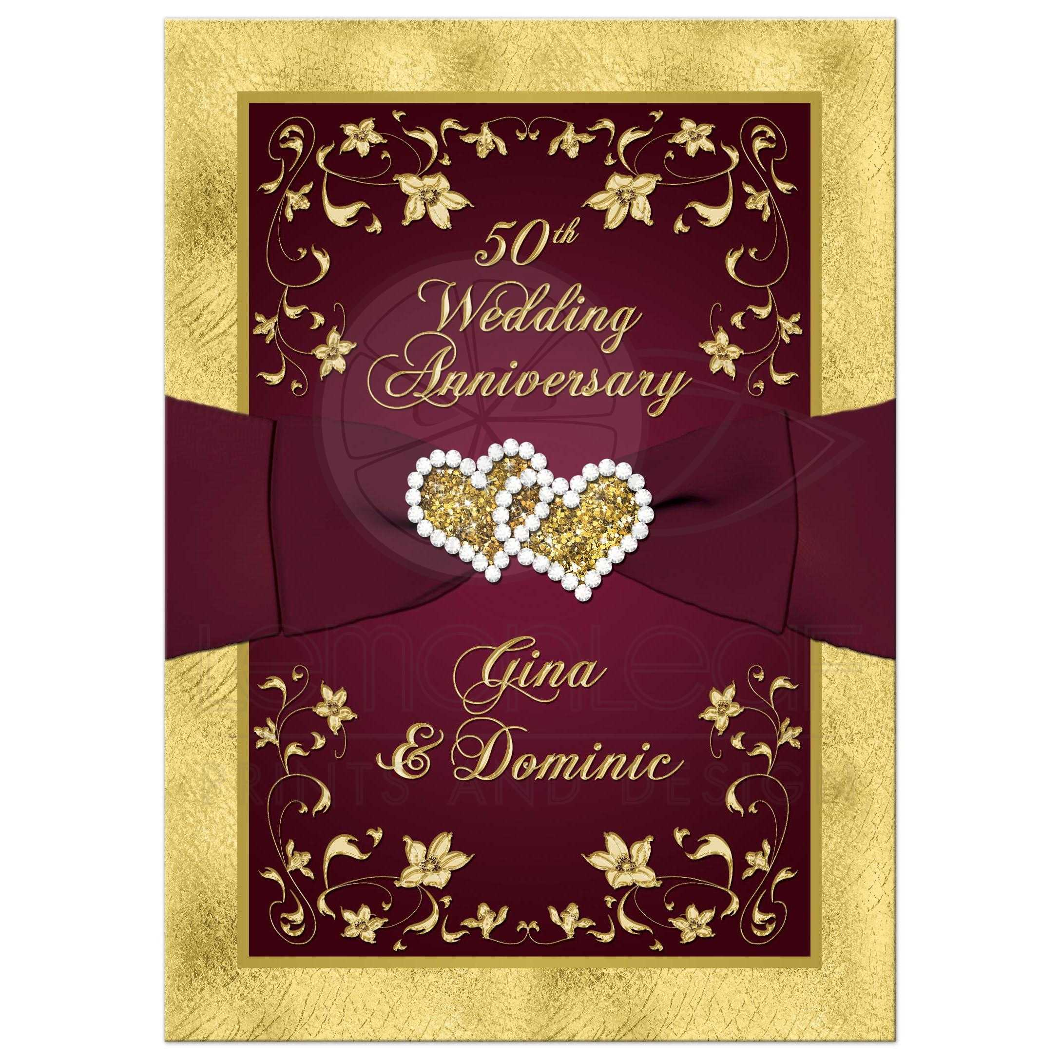 50th Wedding Anniversary Invitation | Wine, Gold Floral ...