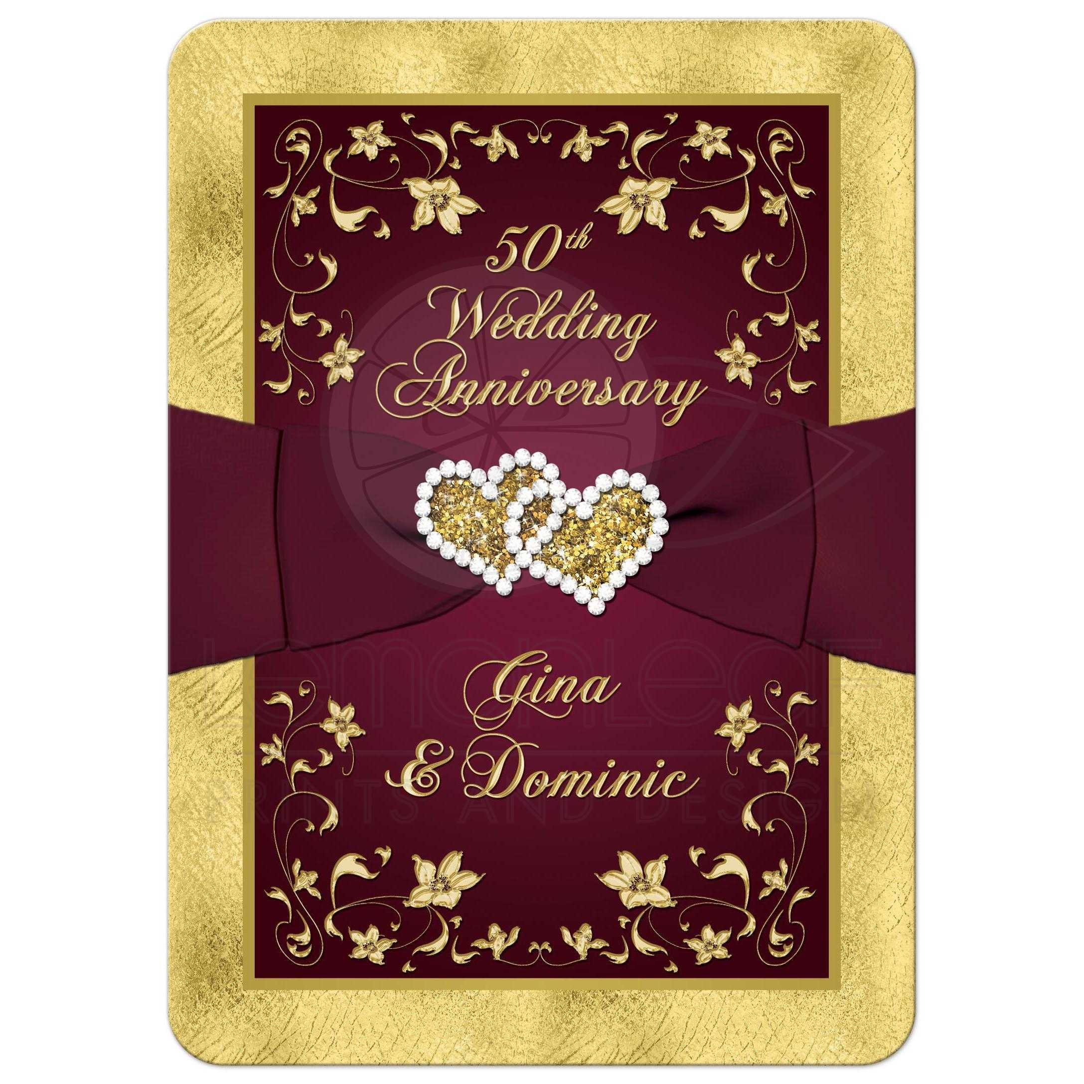 50th wedding anniversary invitation wine gold floral printed great burgundy wine and gold floral 50th wedding anniversary invitation with ribbon joined hearts stopboris Gallery