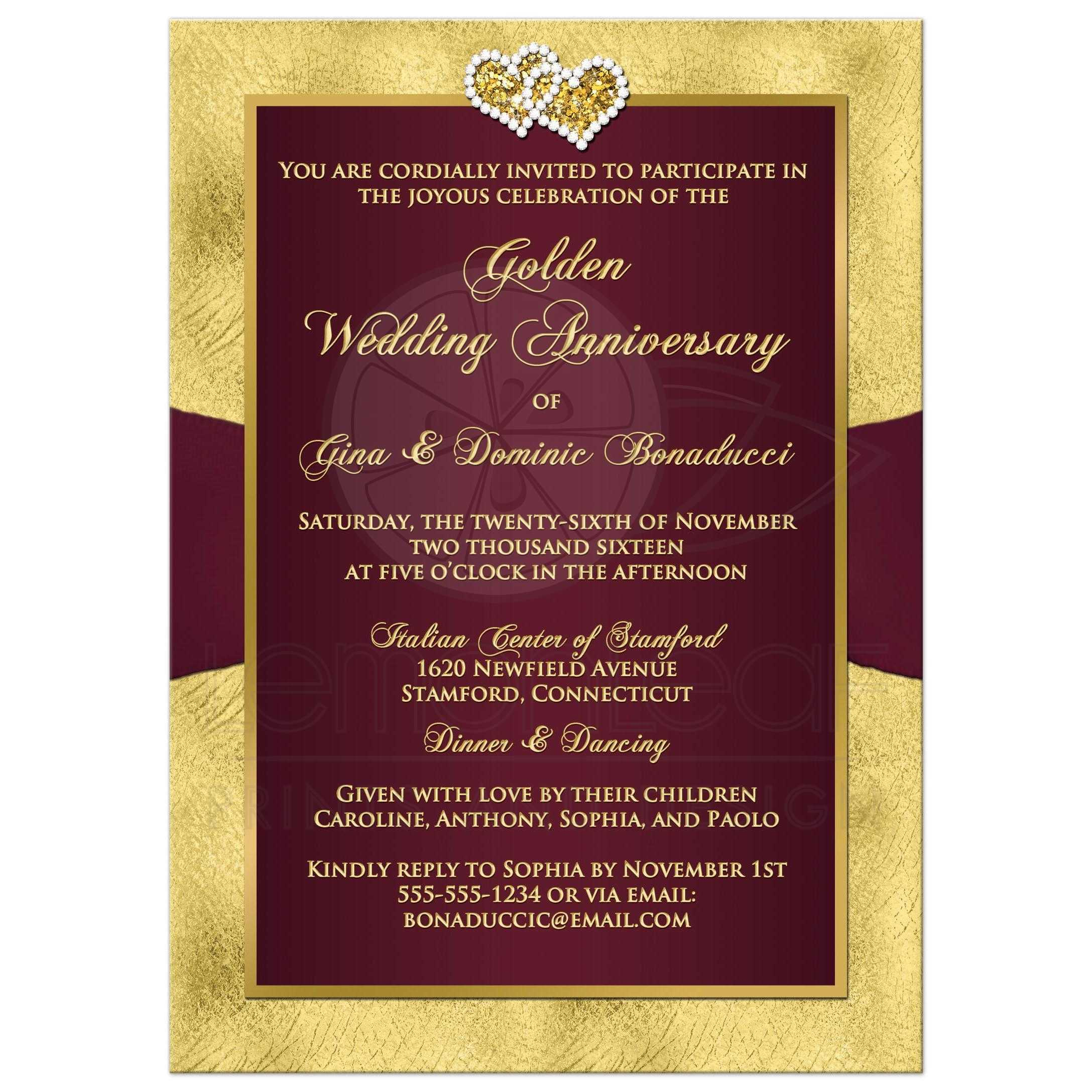 50th Wedding Anniversary Invitation | Wine, Gold Floral | PRINTED ...