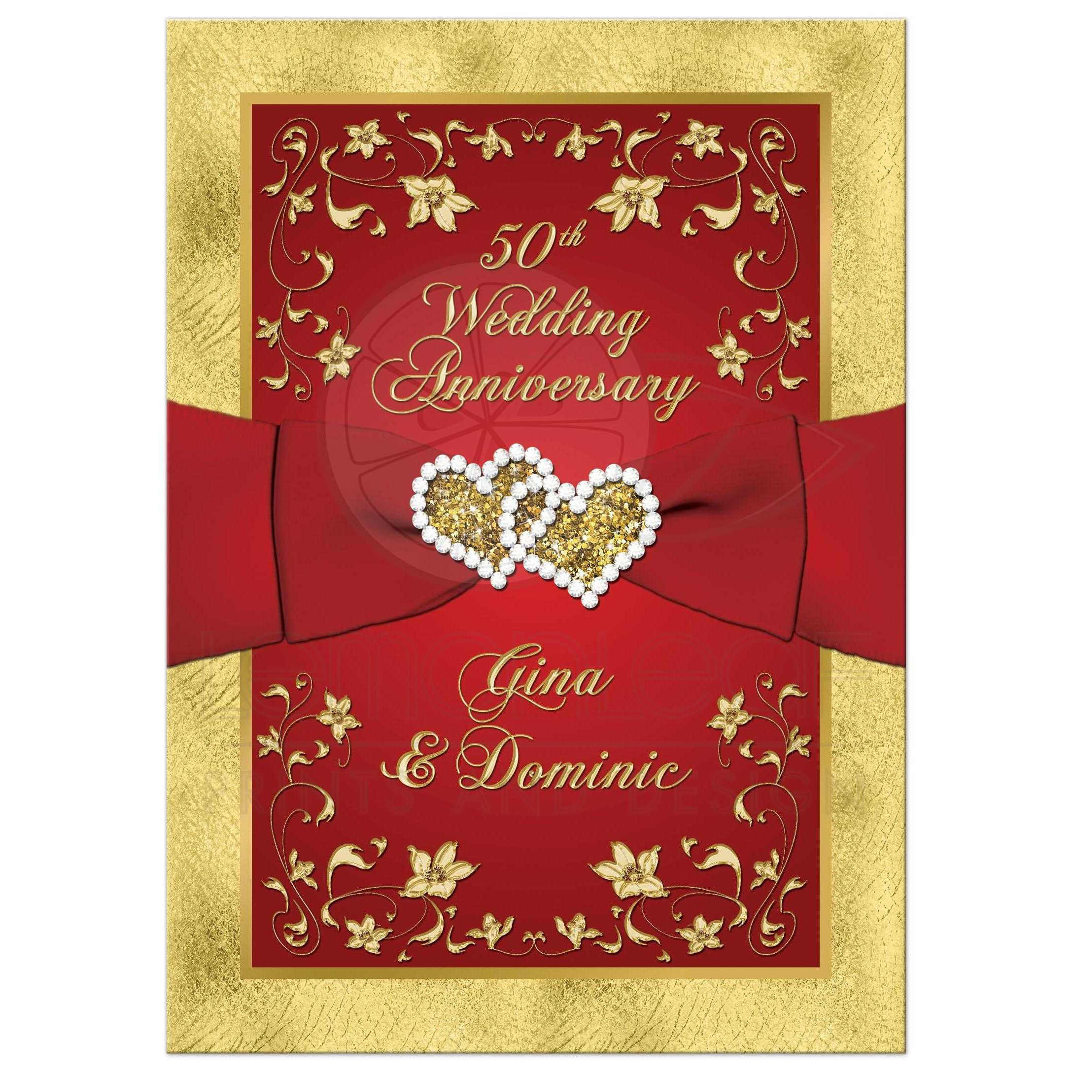 Great Red And Gold Floral 50th Wedding Anniversary Invitations With Ribbon,  Joined Hearts, ...