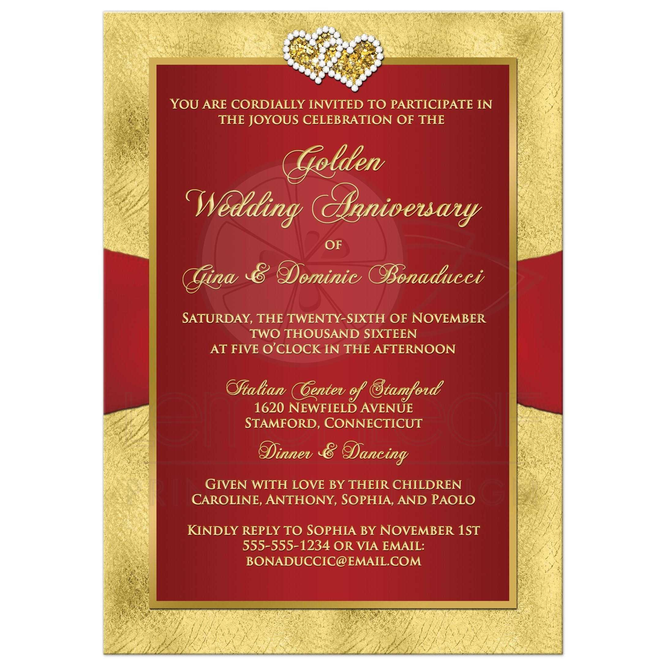 50th Wedding Anniversary Invite | Red, Gold Floral | PRINTED RIBBON ...