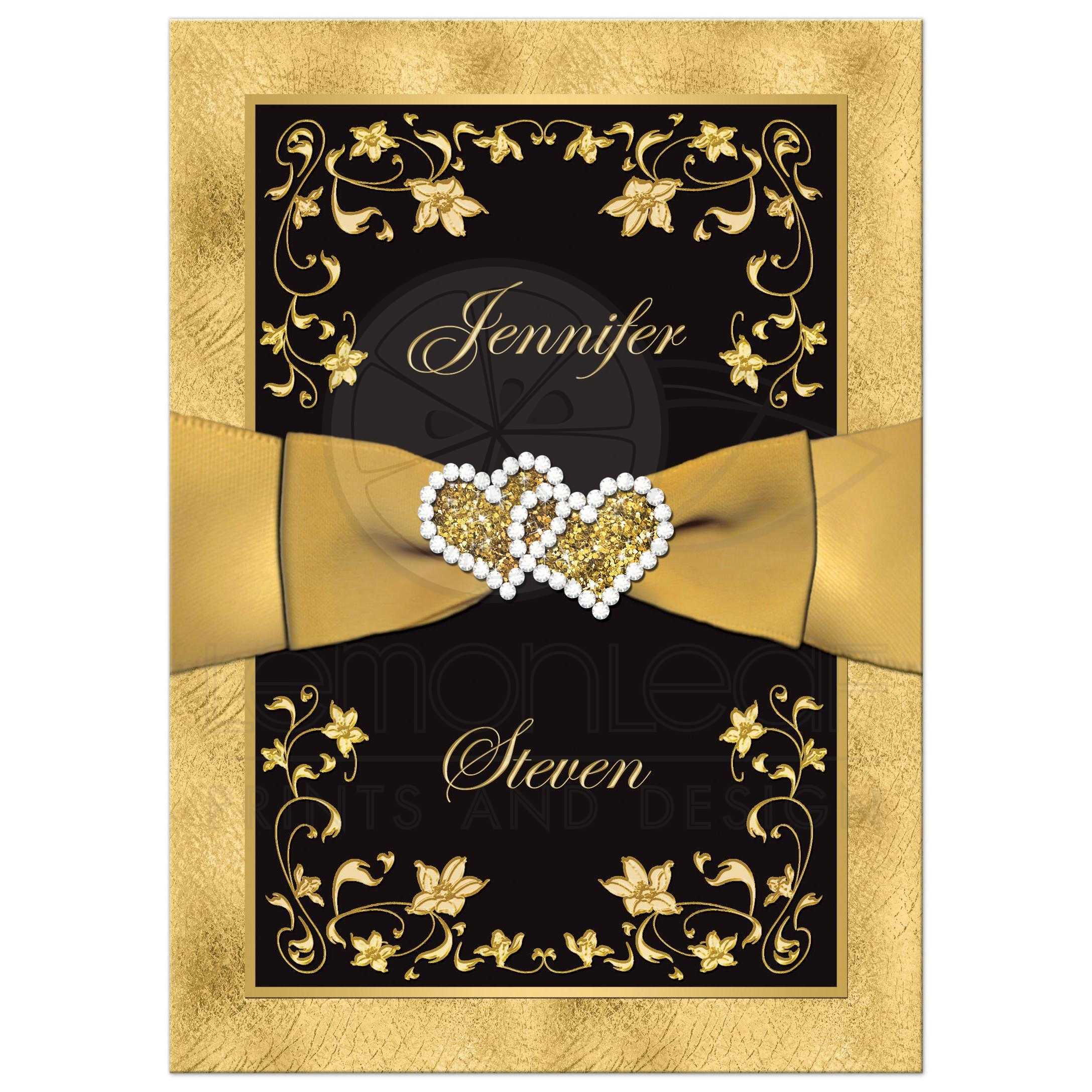 Wedding Invitation | Black, Gold Floral, Scrolls | PRINTED RIBBON ...