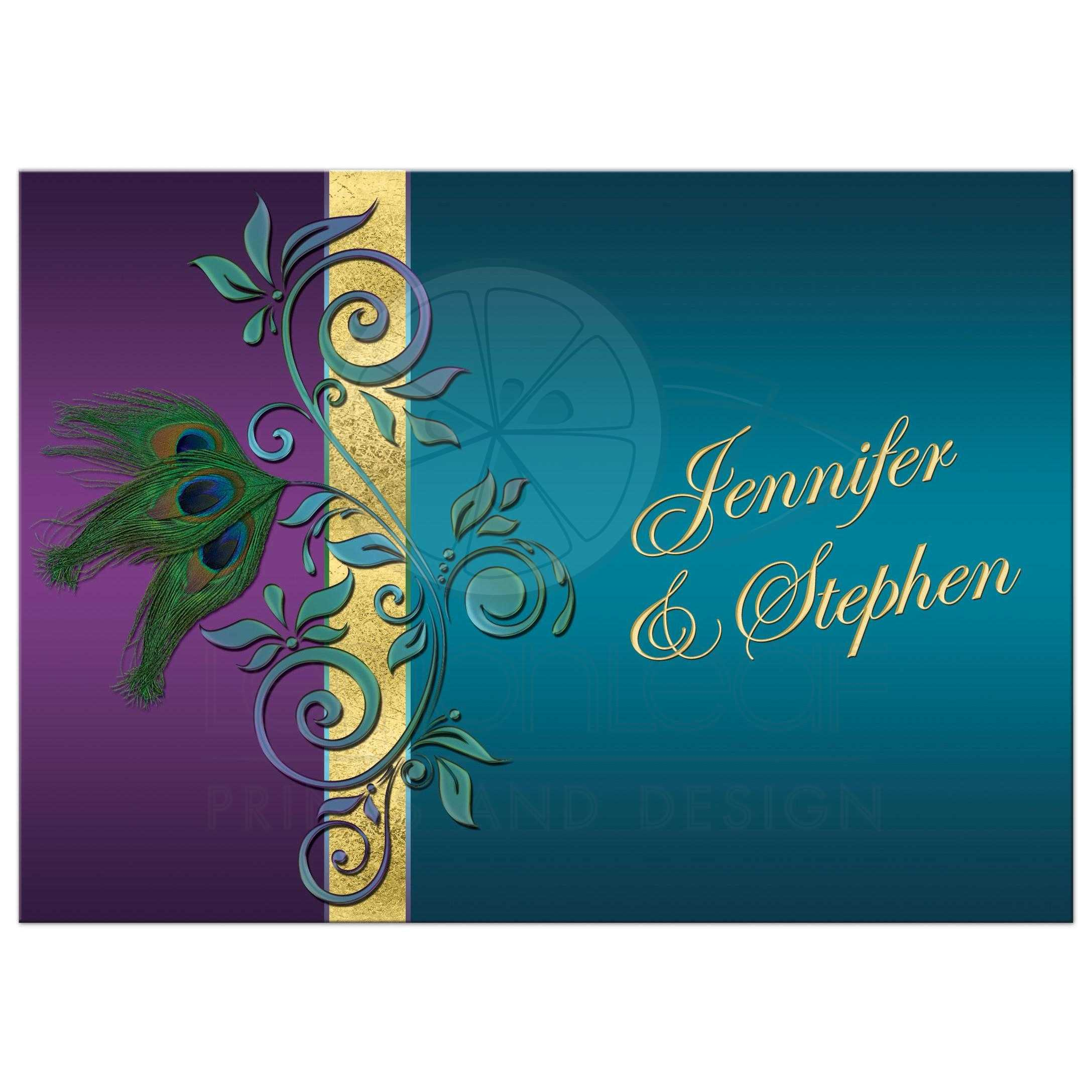 Wedding Invitation Purple Teal Peacock Feathers Flourish – Gold and Purple Wedding Invitations