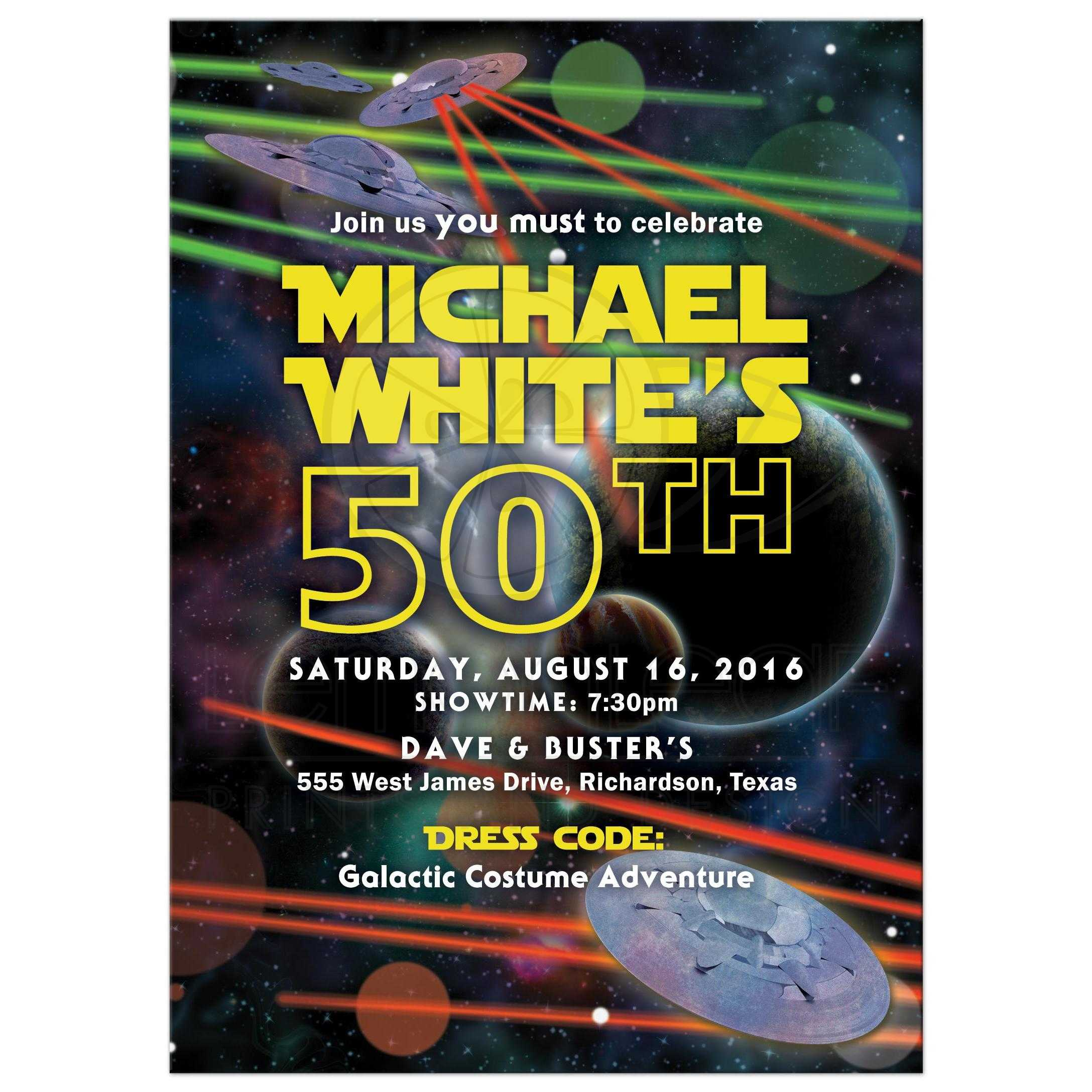 Space war 50th birthday invitation video game or space movie star or space war movie or video game bar mitzvah invitation front stopboris Image collections