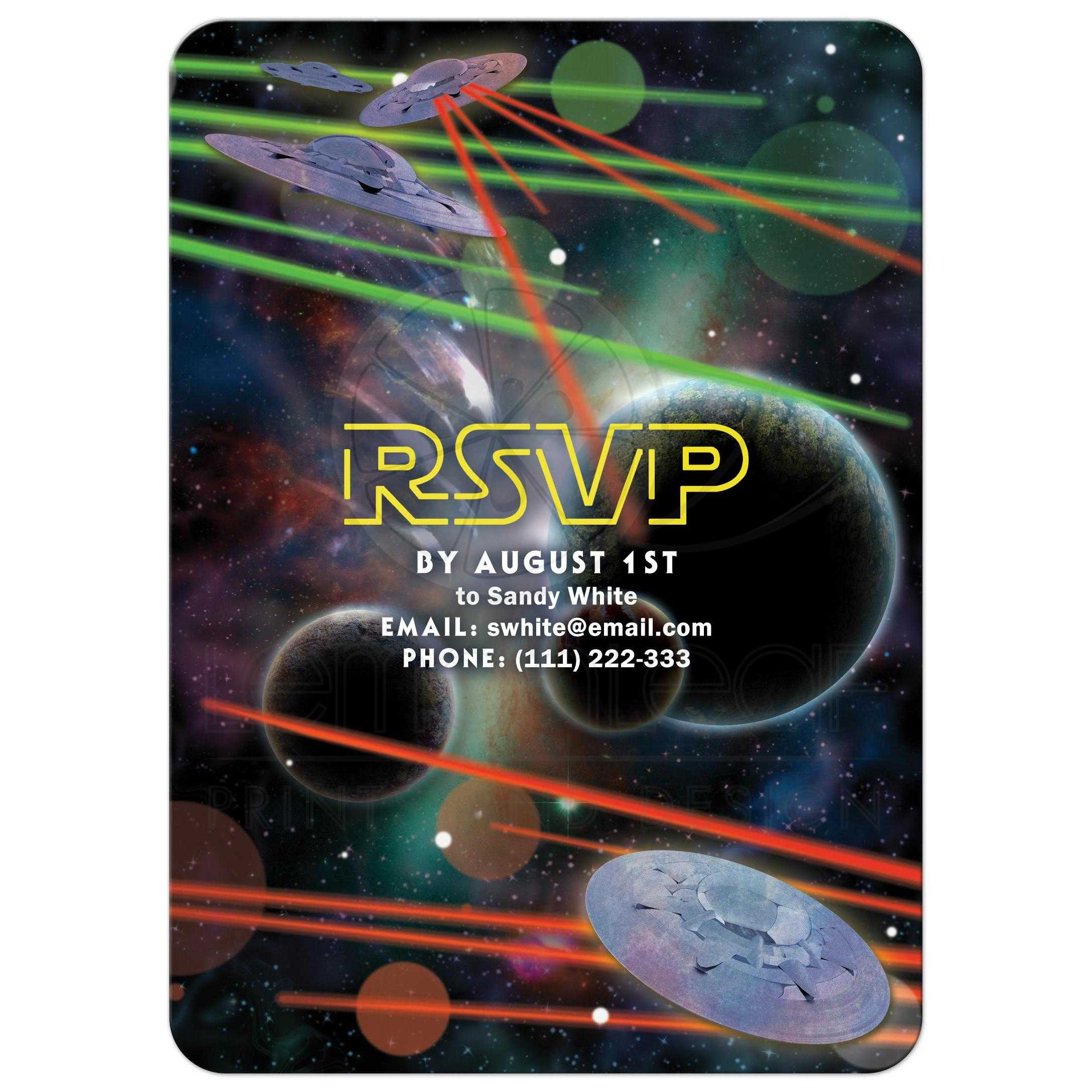Star Or Space War Movie Video Game Bar Mitzvah Invitation Back
