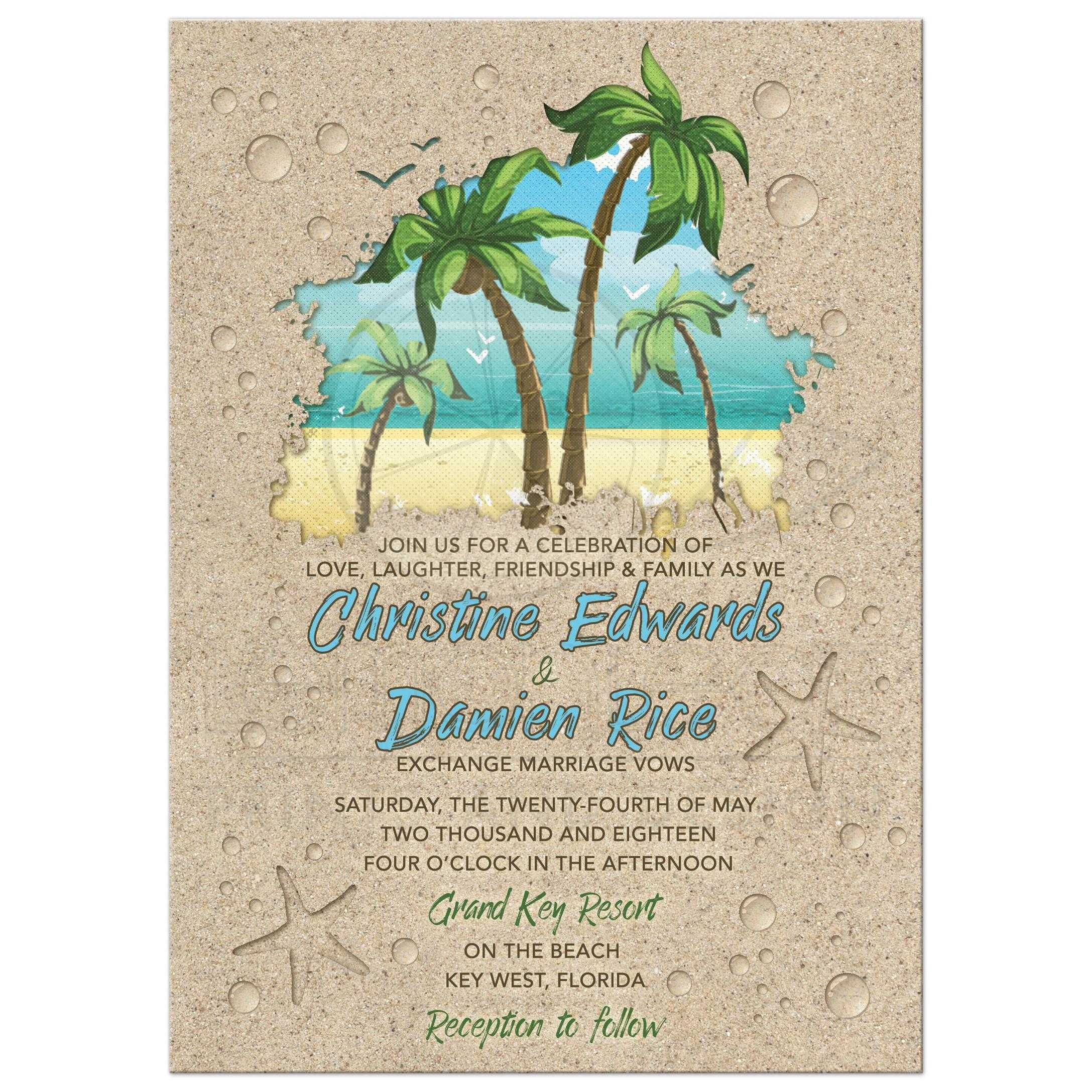 Retro Palm Tree And Sand Beach Wedding Invitations Or Destination Wedding  Invitation Front ...