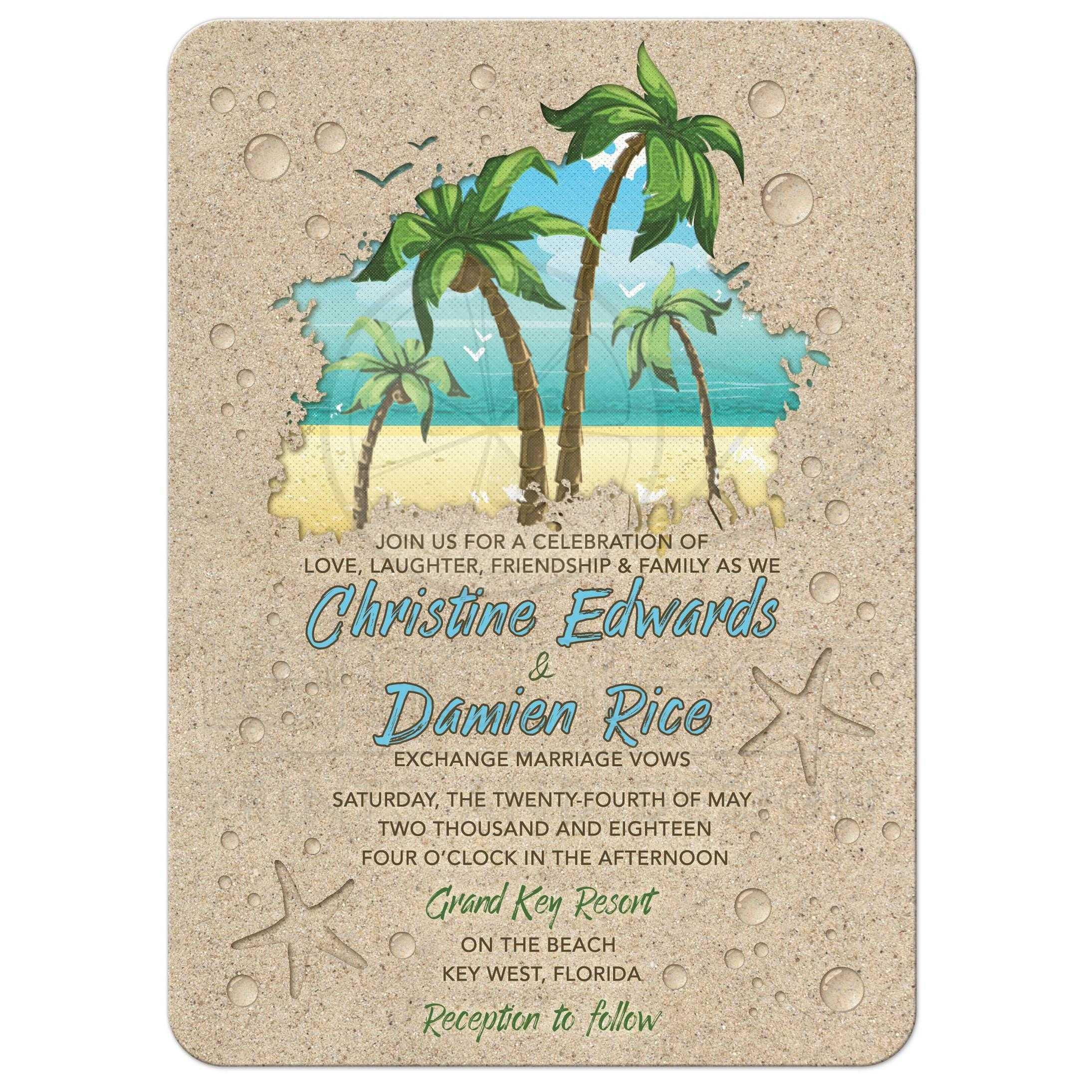 retro palm trees beach wedding invitation