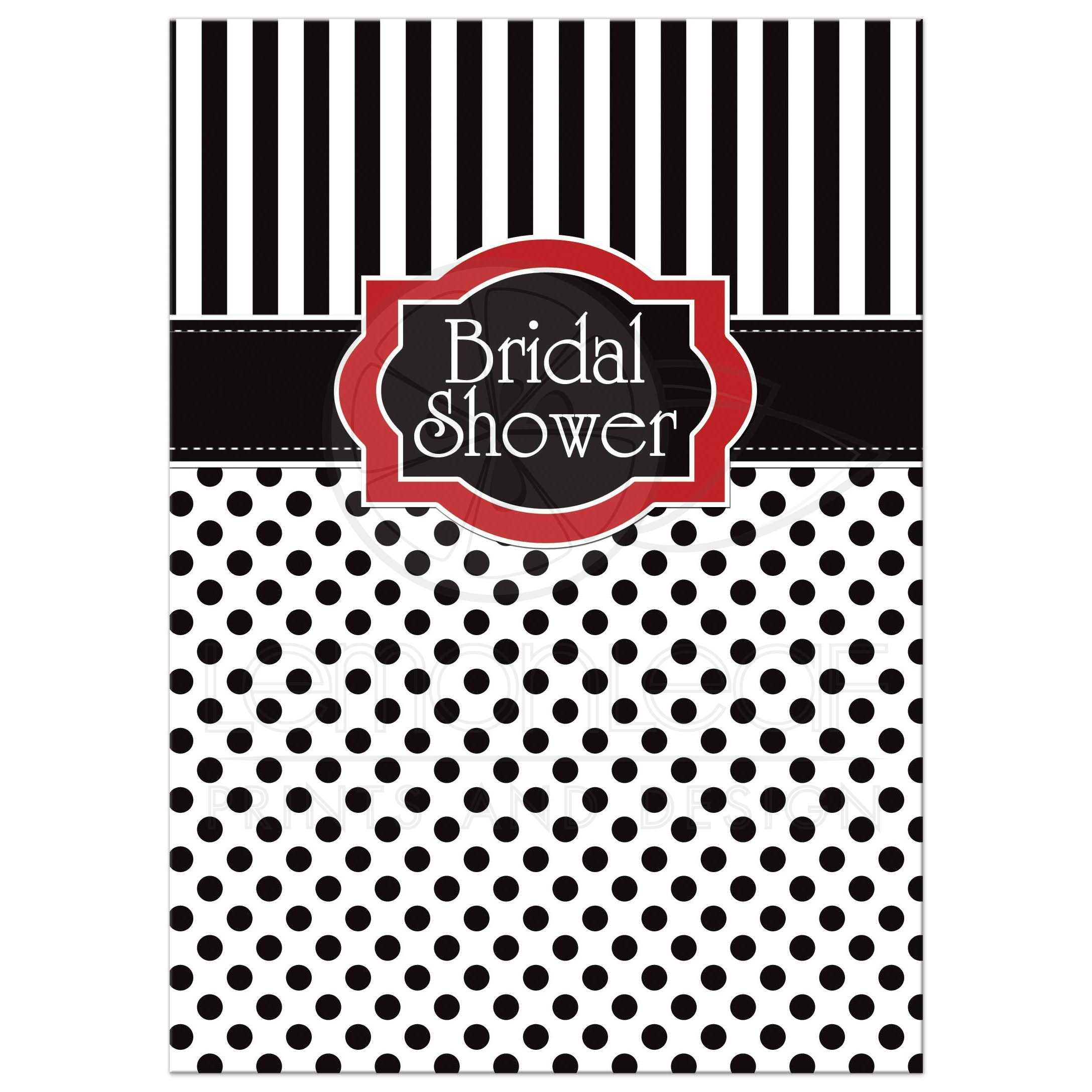 bridal shower invitation black white red polka dots