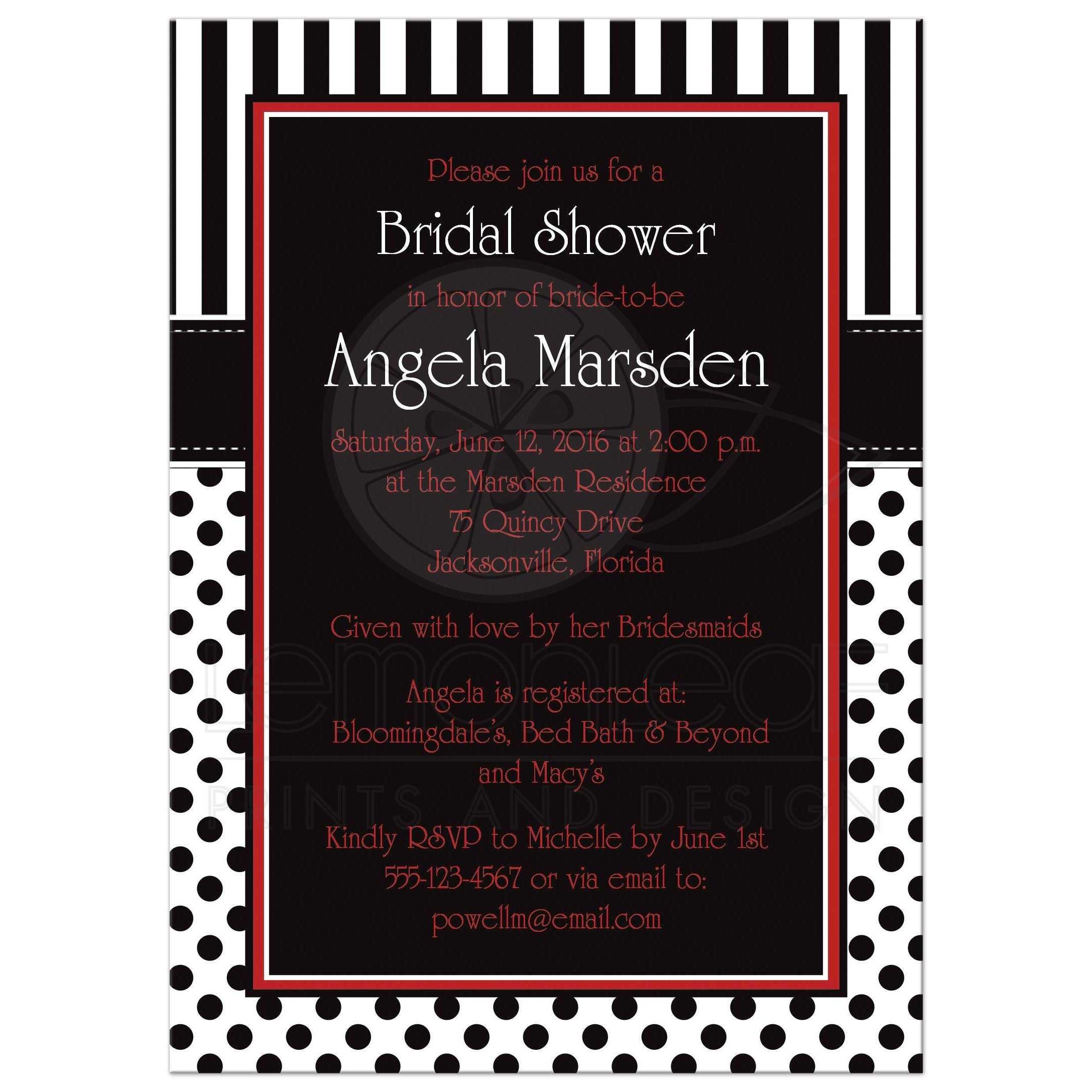 Wedding Invitations Red White And Black: Bridal Shower Invitation