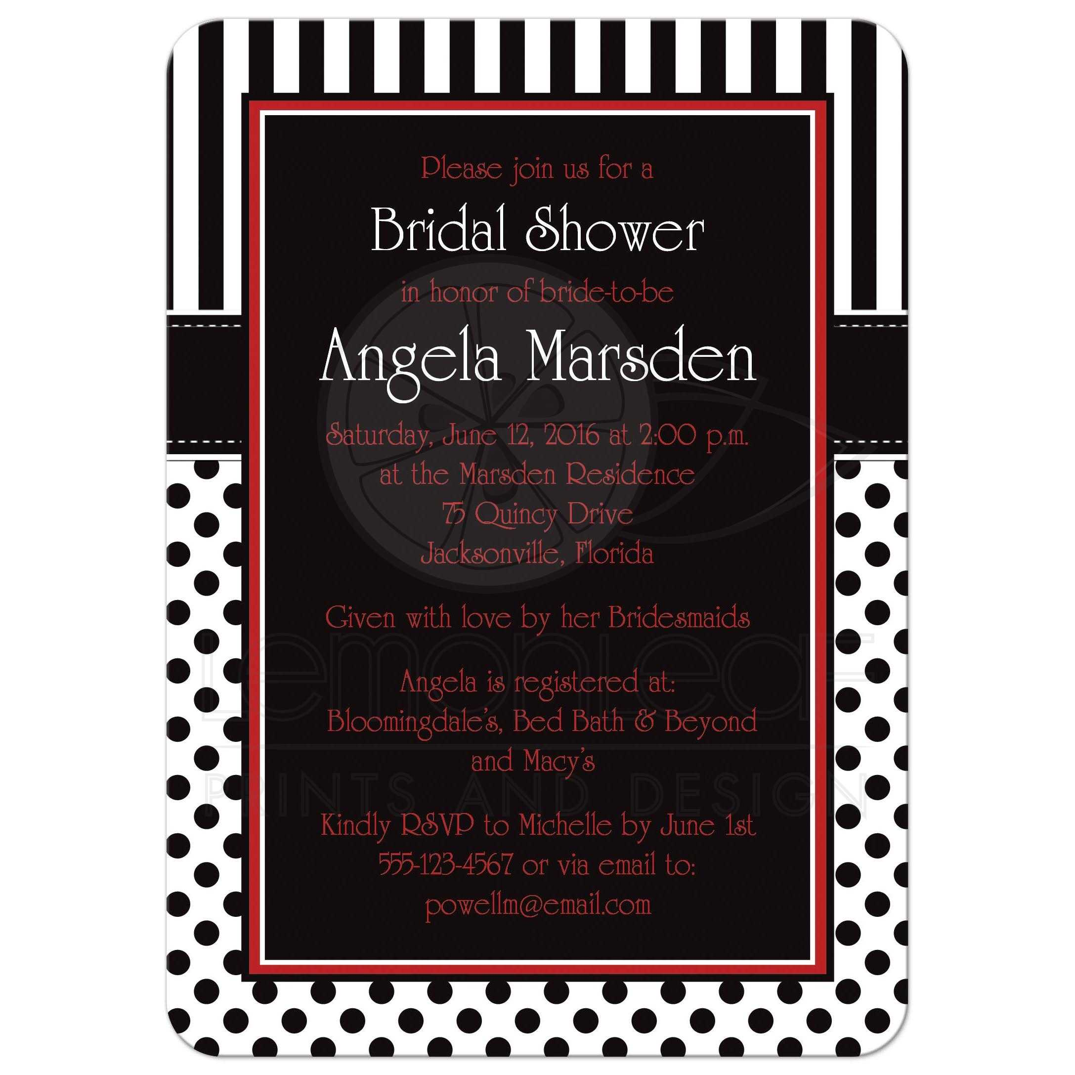 Red And Pink Wedding Invitations: Bridal Shower Invitation