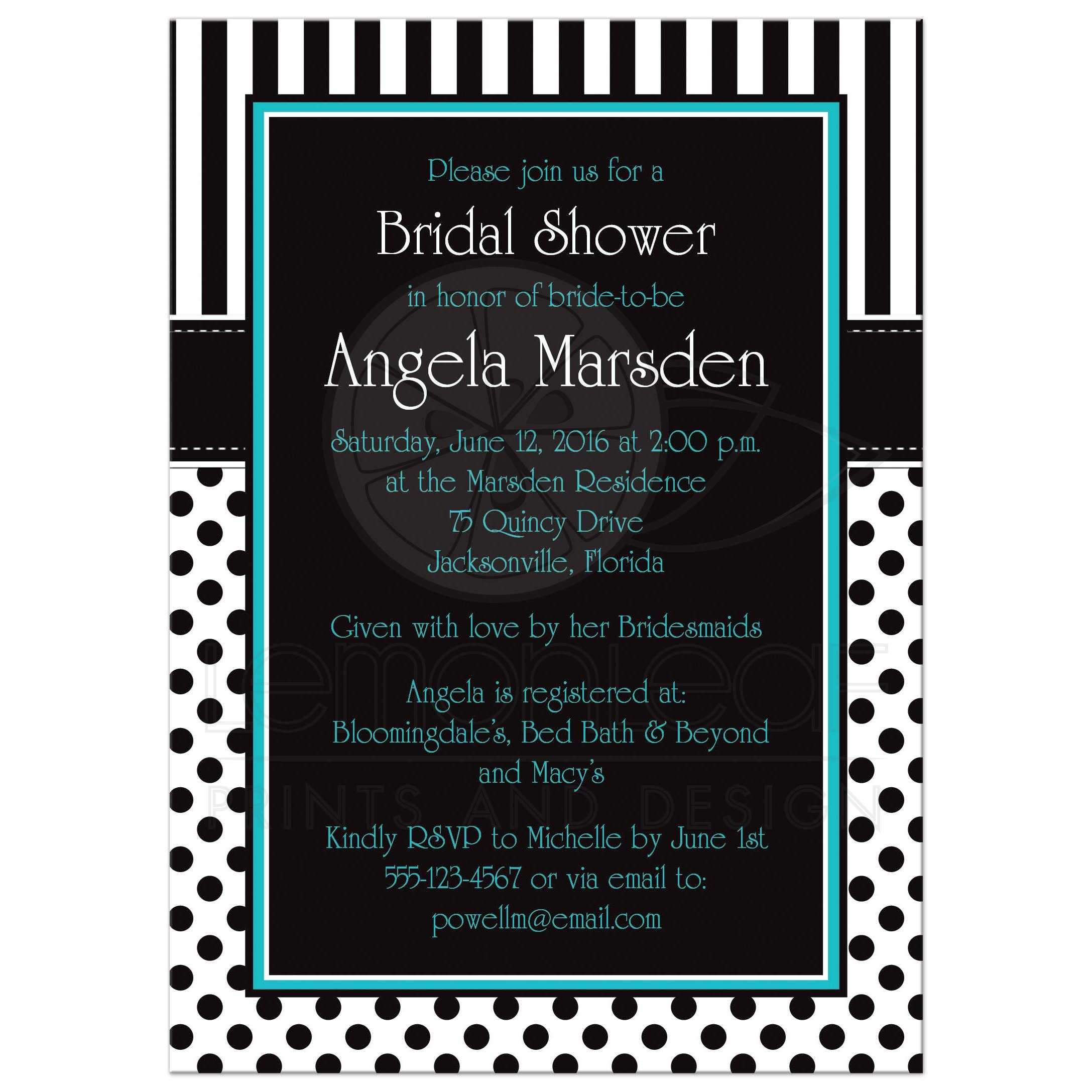 Bridal shower invitation black white turquoise polka dots stripes black and white striped bridal shower invites with polka dots and turquoise or teal filmwisefo