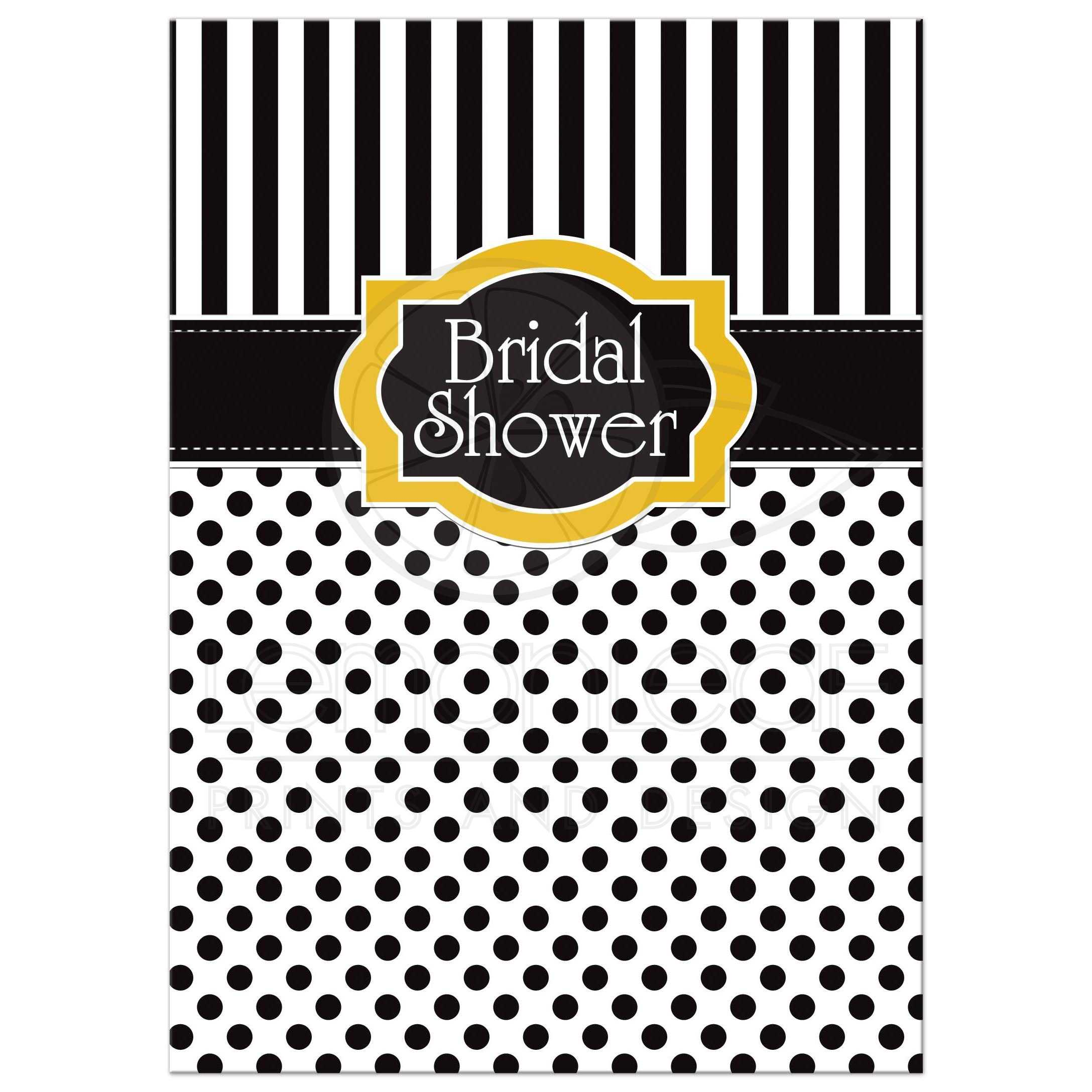great black and white striped bridal or wedding shower invitation with polka dots and yellow accents
