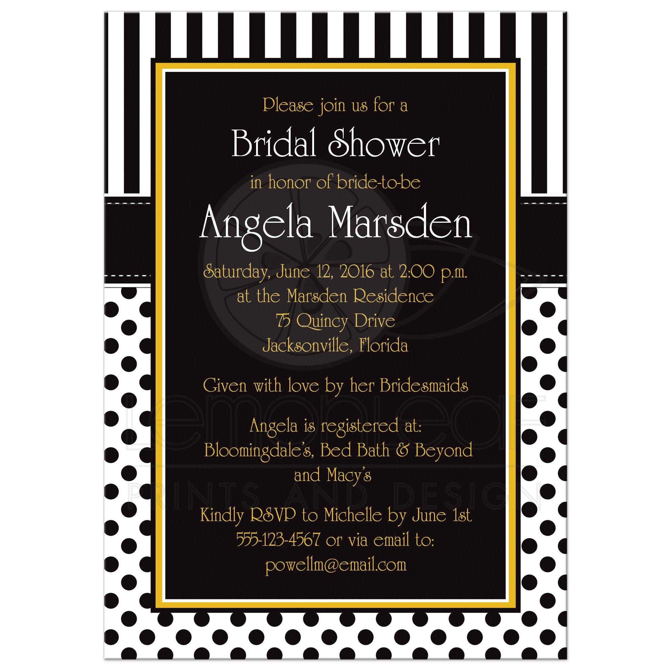 Bridal shower invitation black white yellow polka dots and stripes black and white striped bridal or wedding shower invites with polka dots and yellow filmwisefo