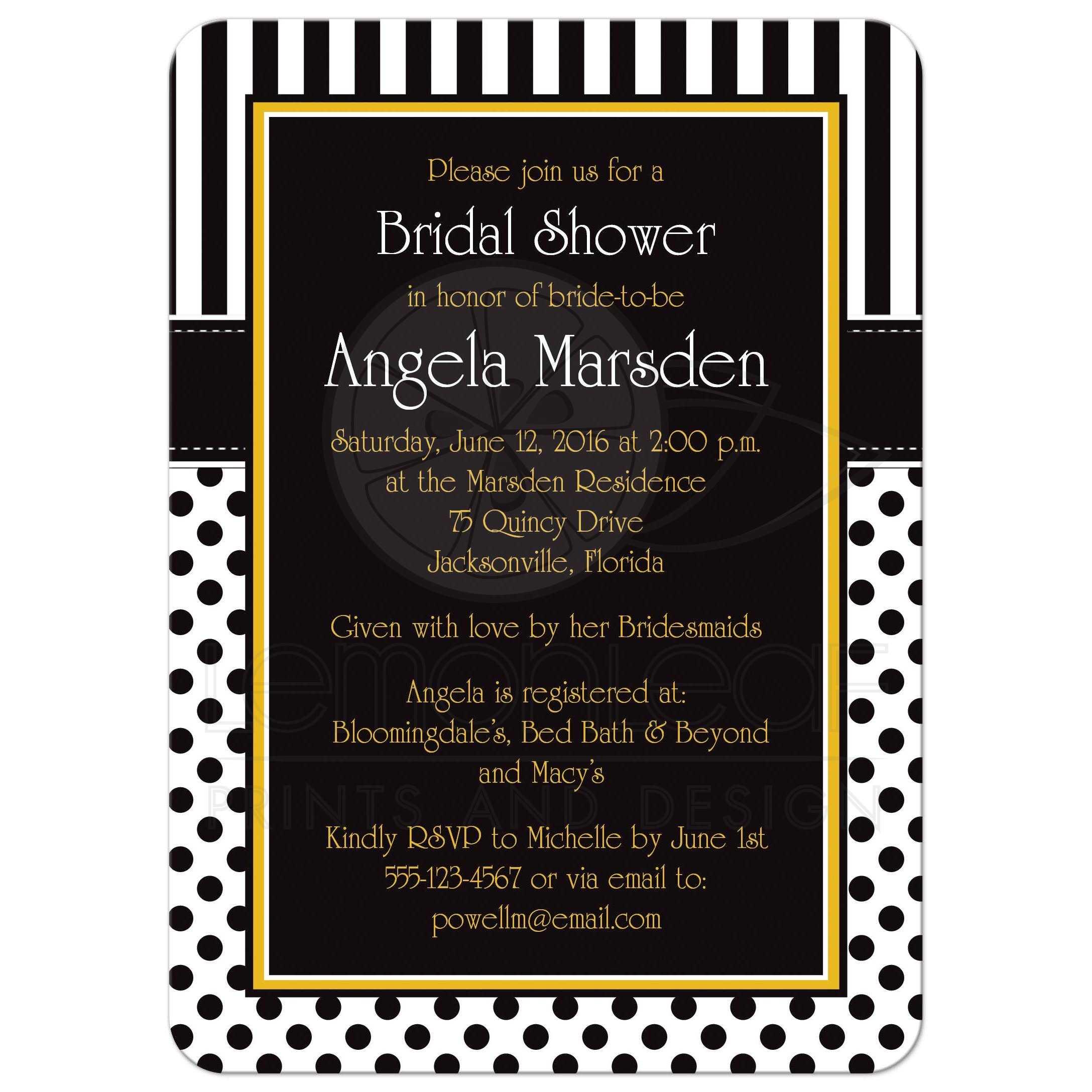 Bridal Shower Invitation Black White Yellow Polka Dots and Stripes