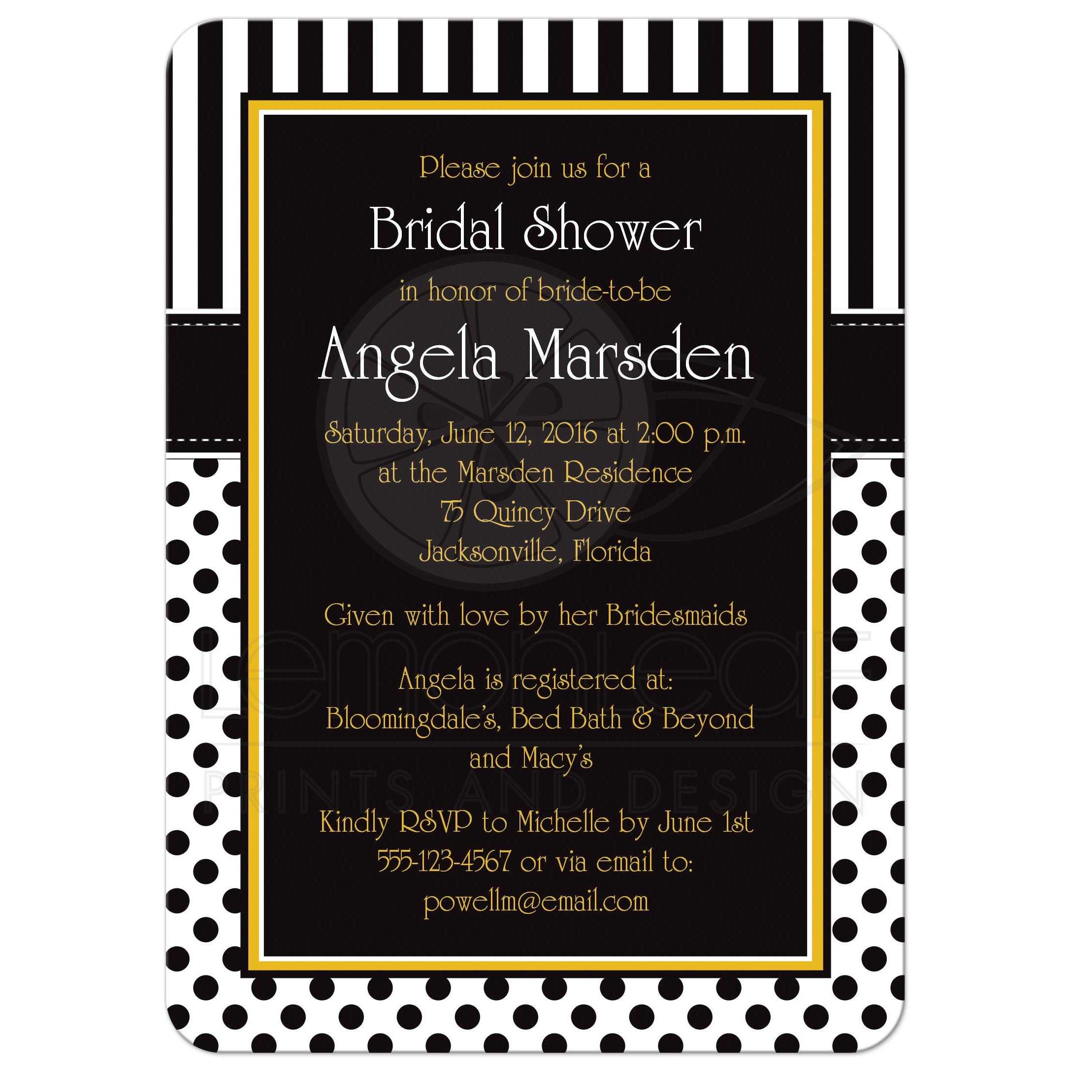 Bridal Shower Invitation | Black, White, Yellow | Polka Dots & Stripes