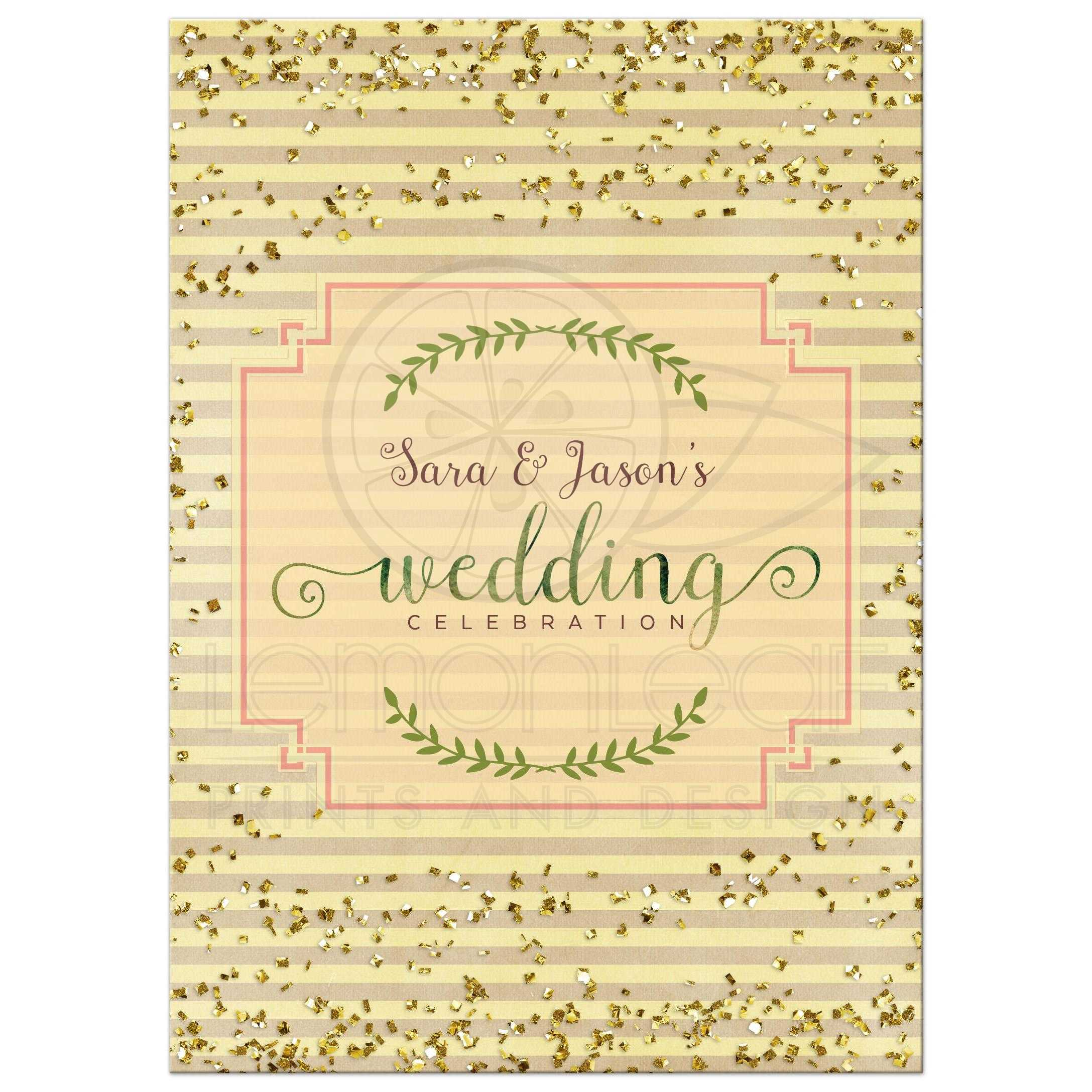 Gold Confetti Stripes | Yellow and Green Wedding Invitation