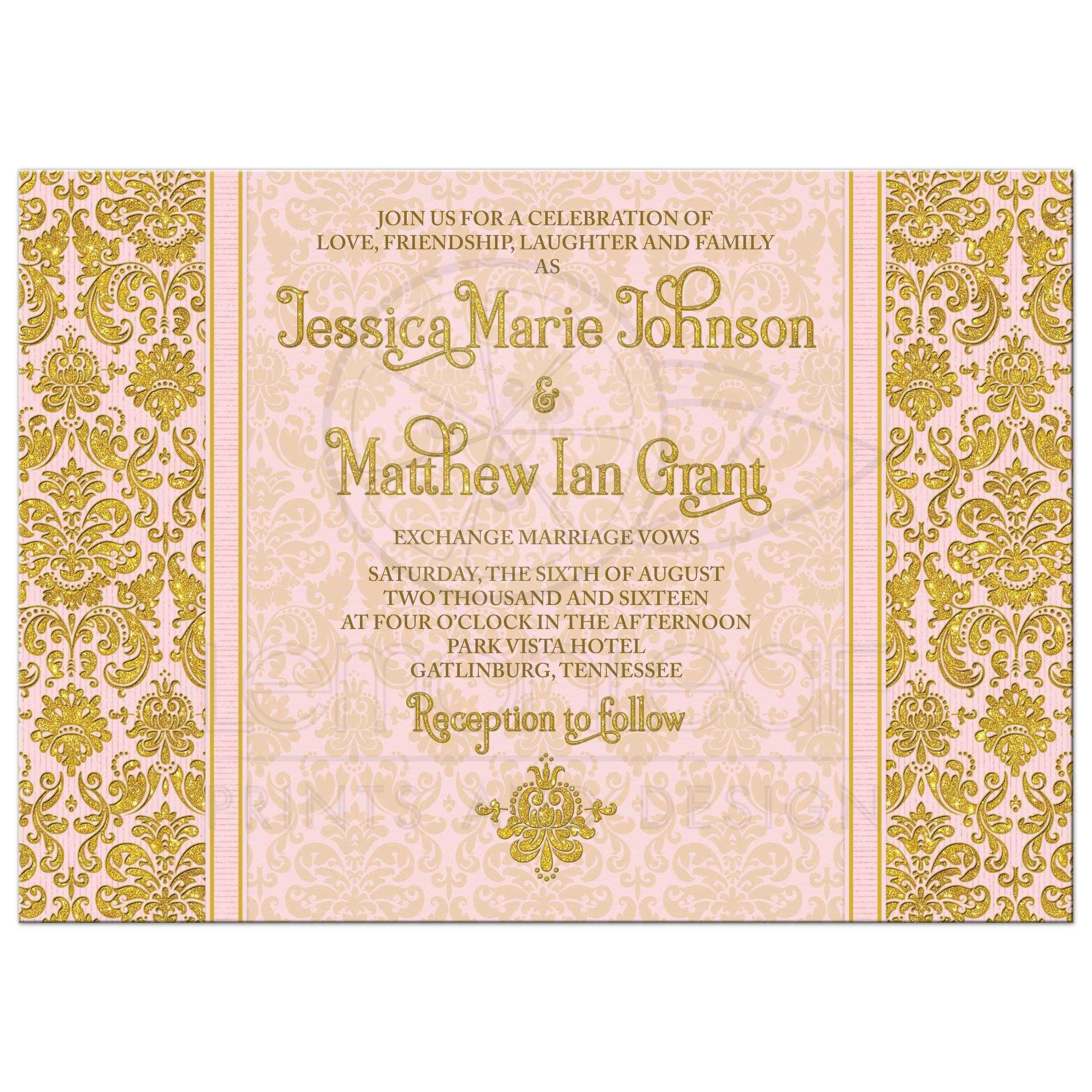 Blush Pink Gold Damask Photo Wedding Invitation
