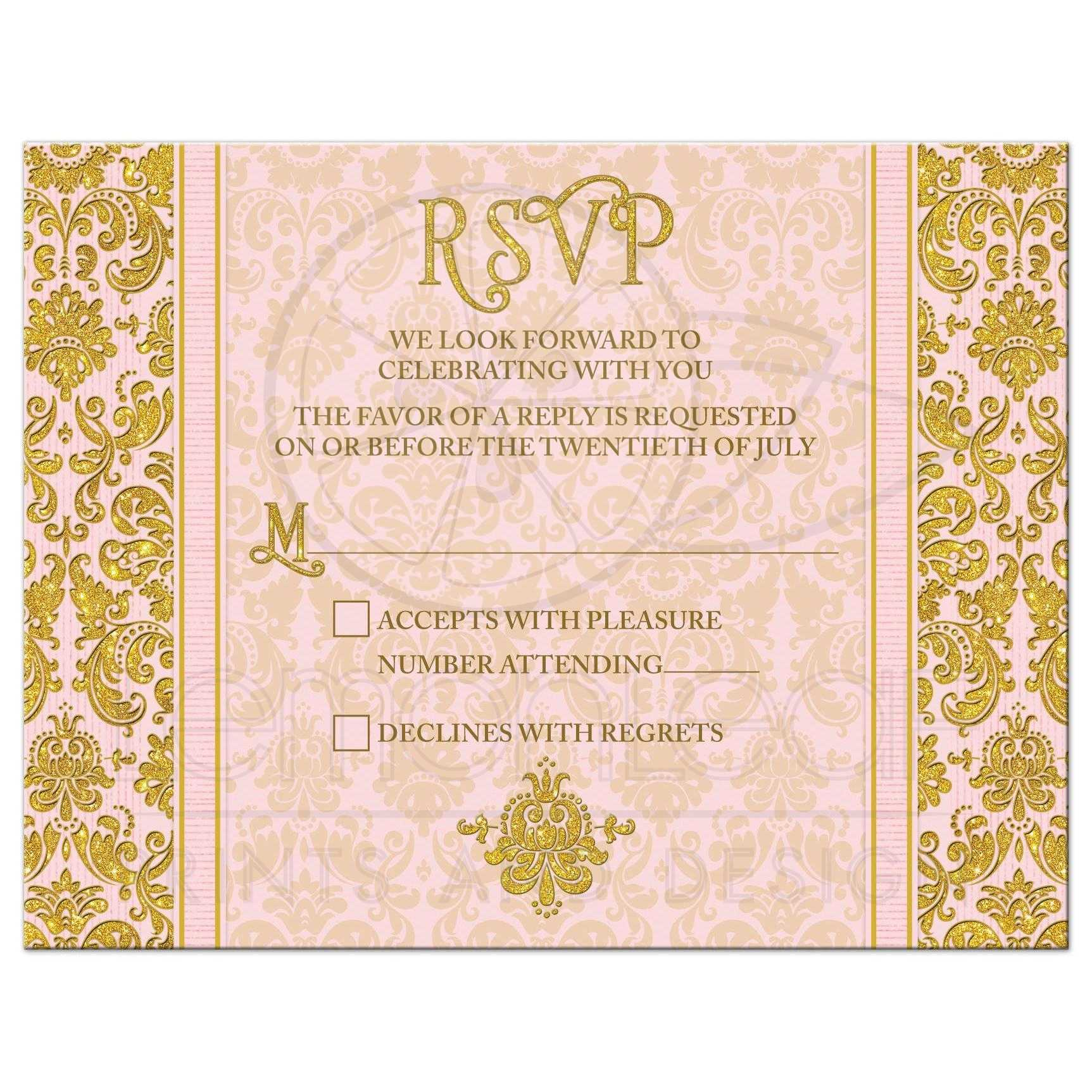 blush pink and gold vintage damask wedding rsvp reply card front