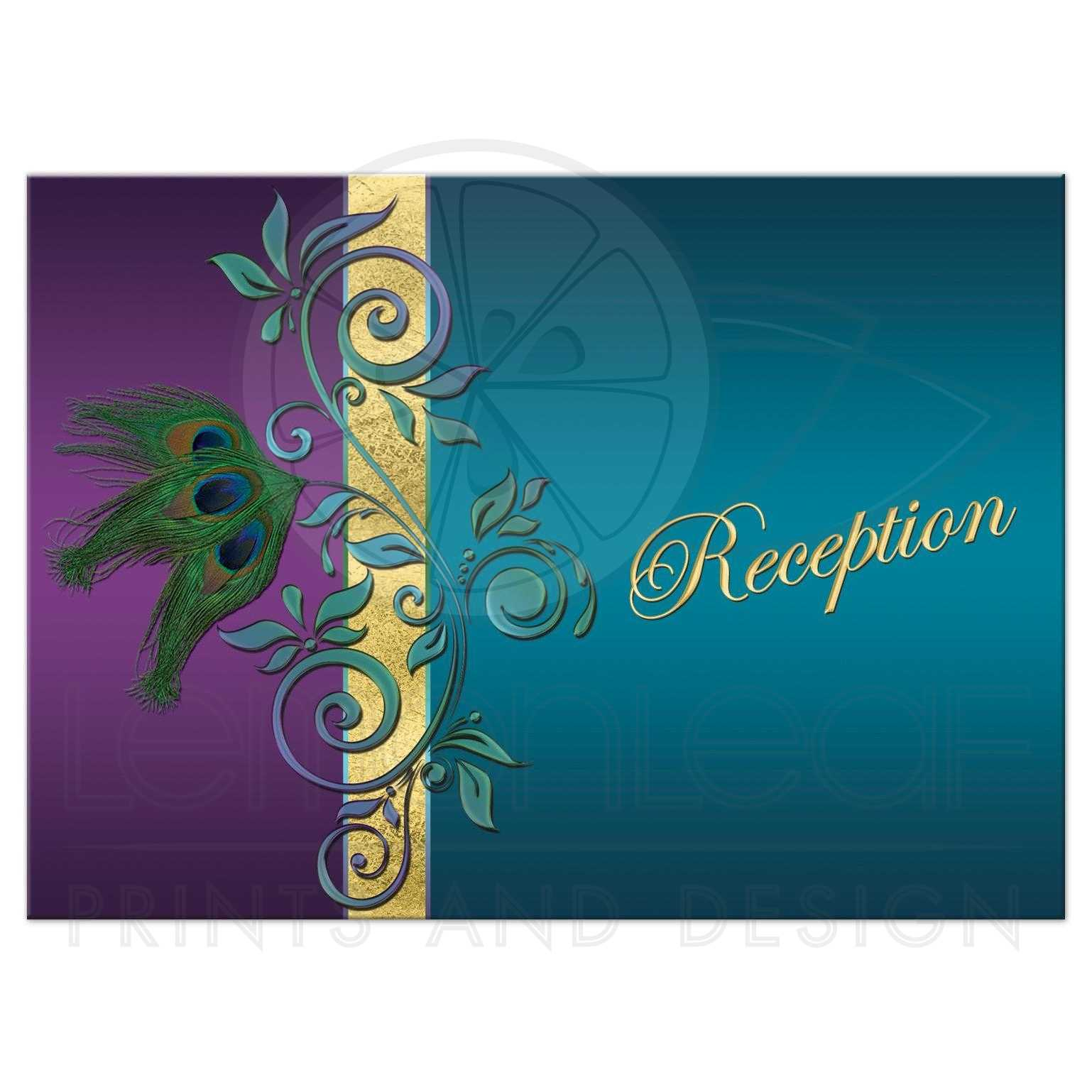 Painted Couple Peacock Wedding Gifts Unique Delicate Home: Wedding Reception Enclosure Card