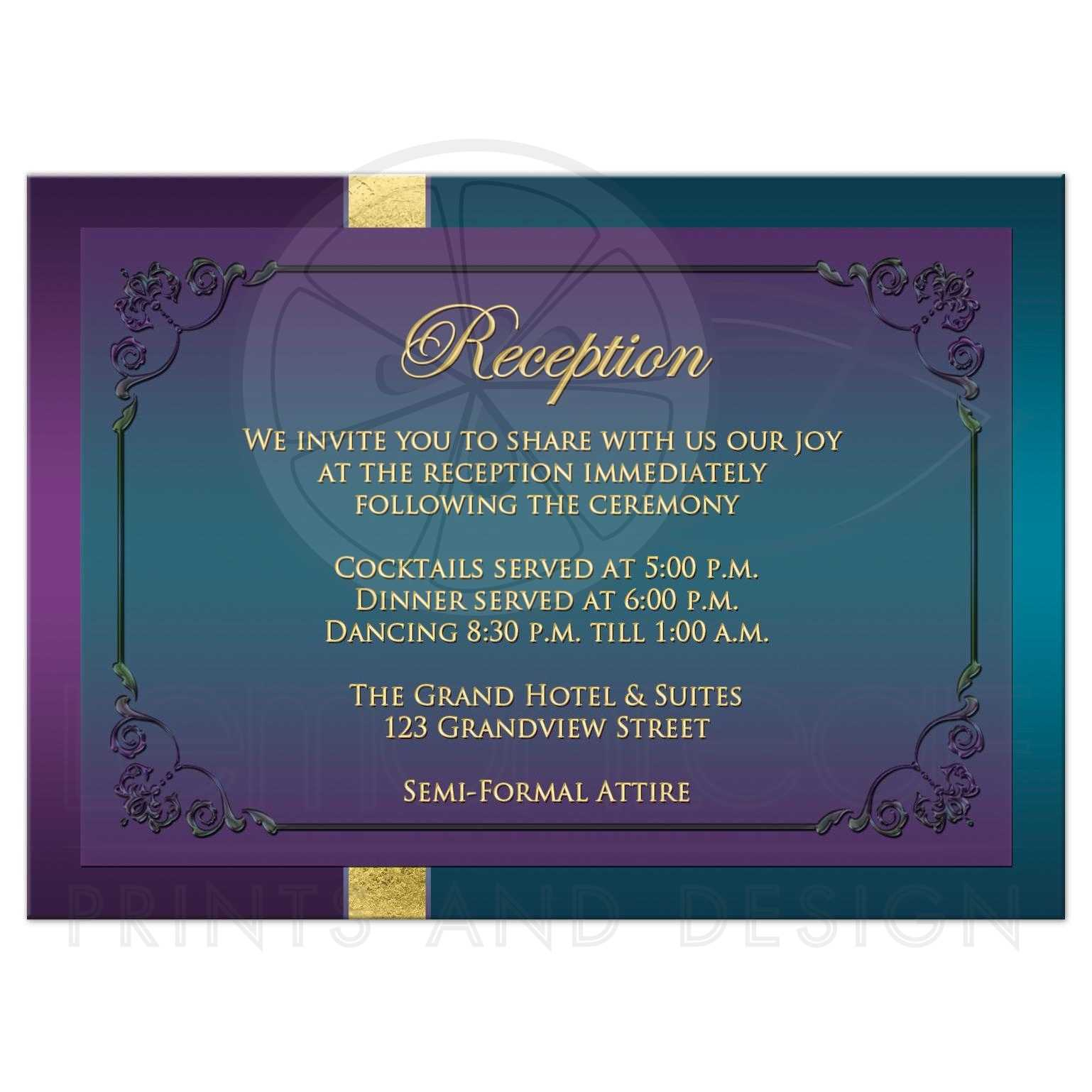 Wedding Reception Enclosure Card Purple Teal Peacock Feathers